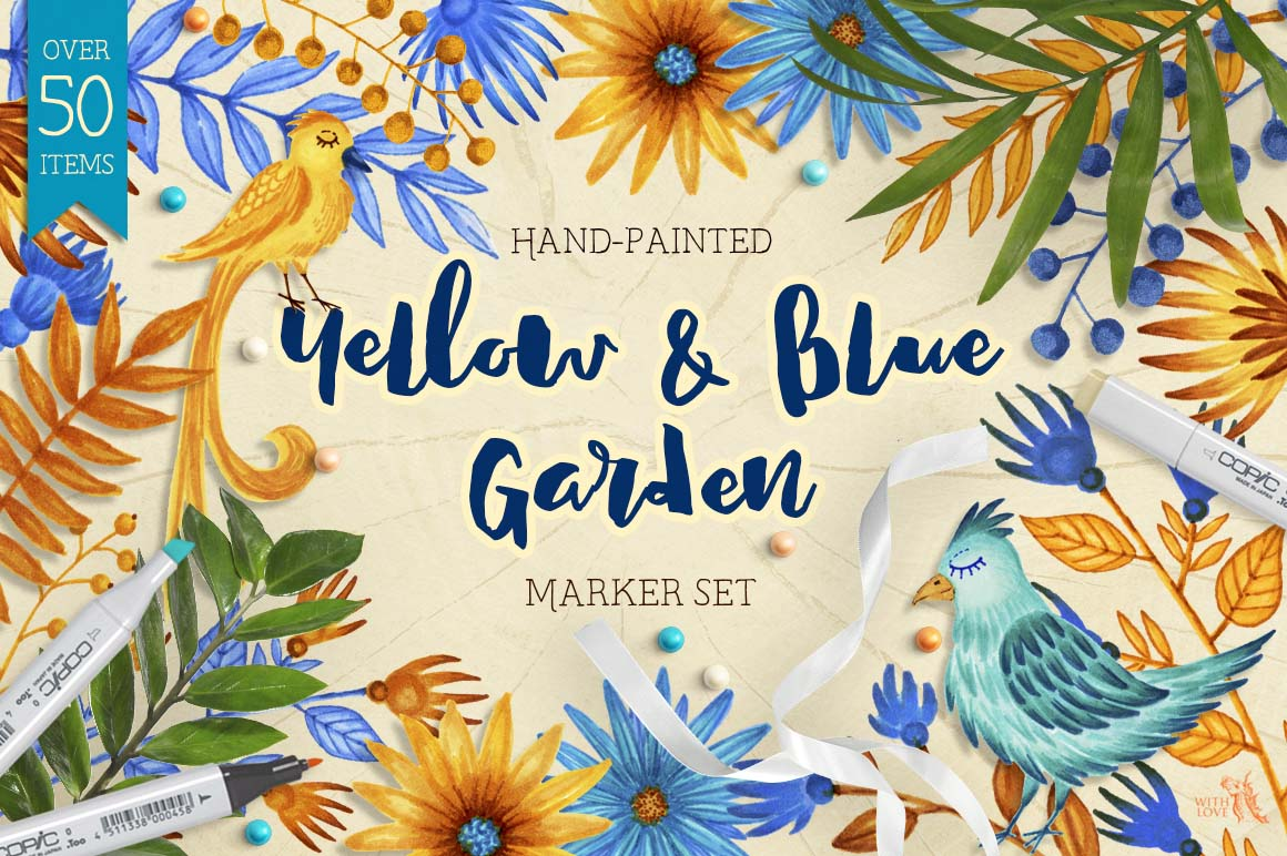 Yellow and Blue Garden Marker Set example image 1