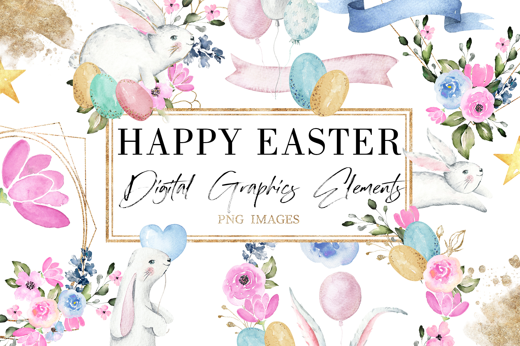 Happy Easter|Watercolor Elements clipArt example image 1