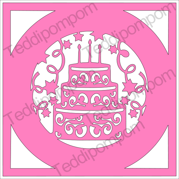 Happy Birthday Cake Frame SVG example image 1