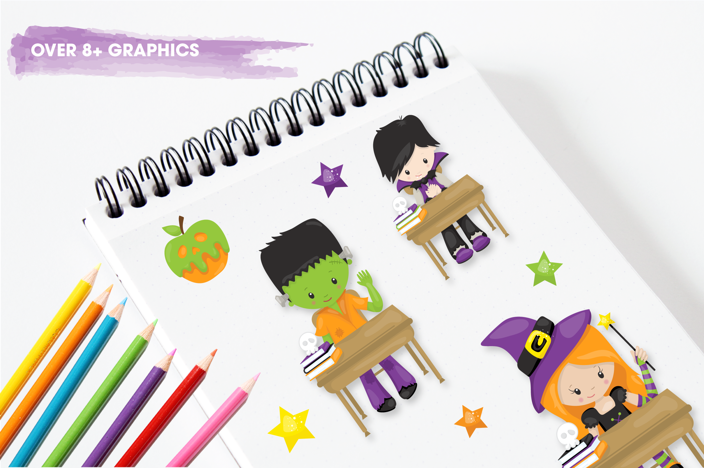 halloween school kids graphics and illustrations example image 3