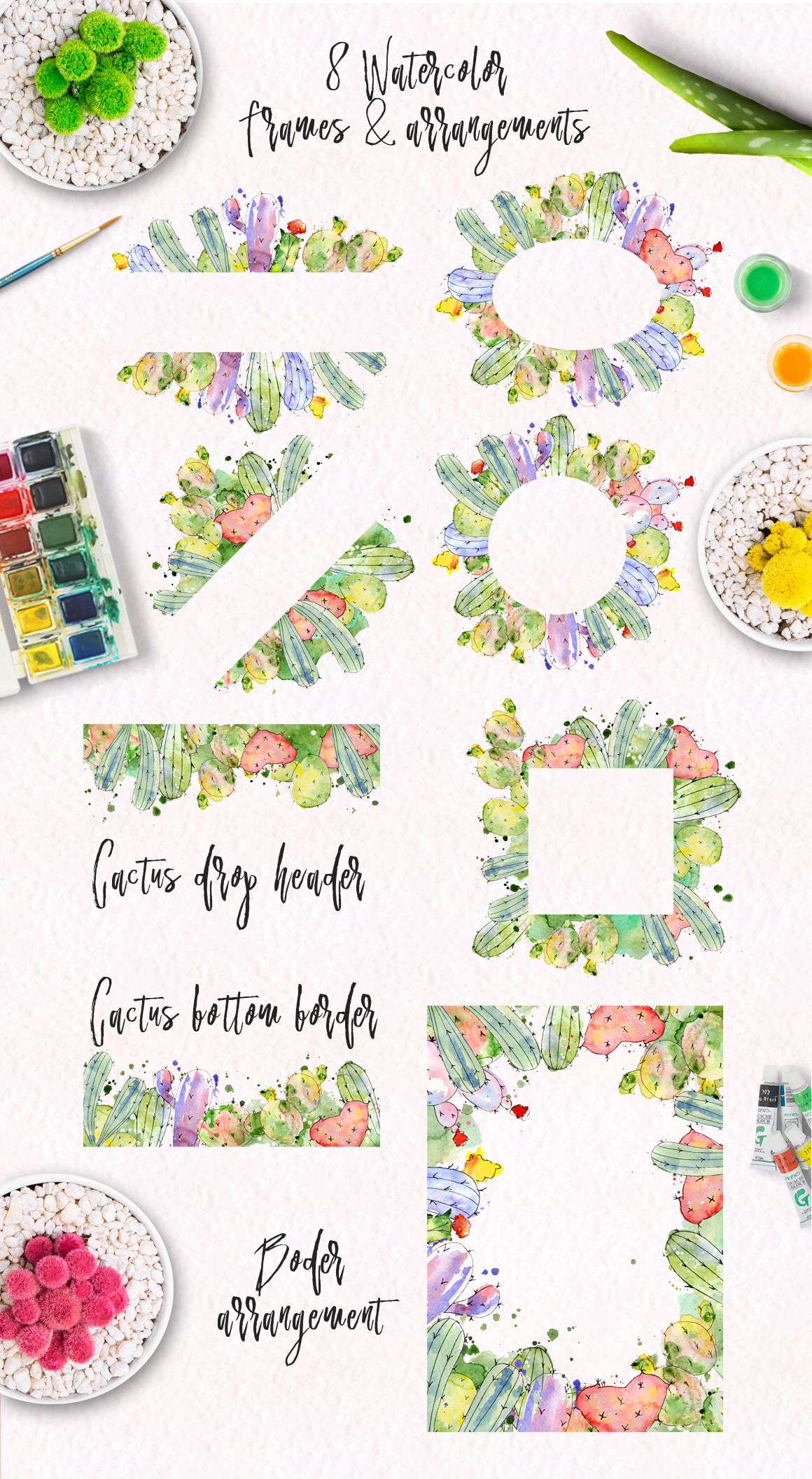Boho Watercolor abstract Cactus Tropical clipart example image 4
