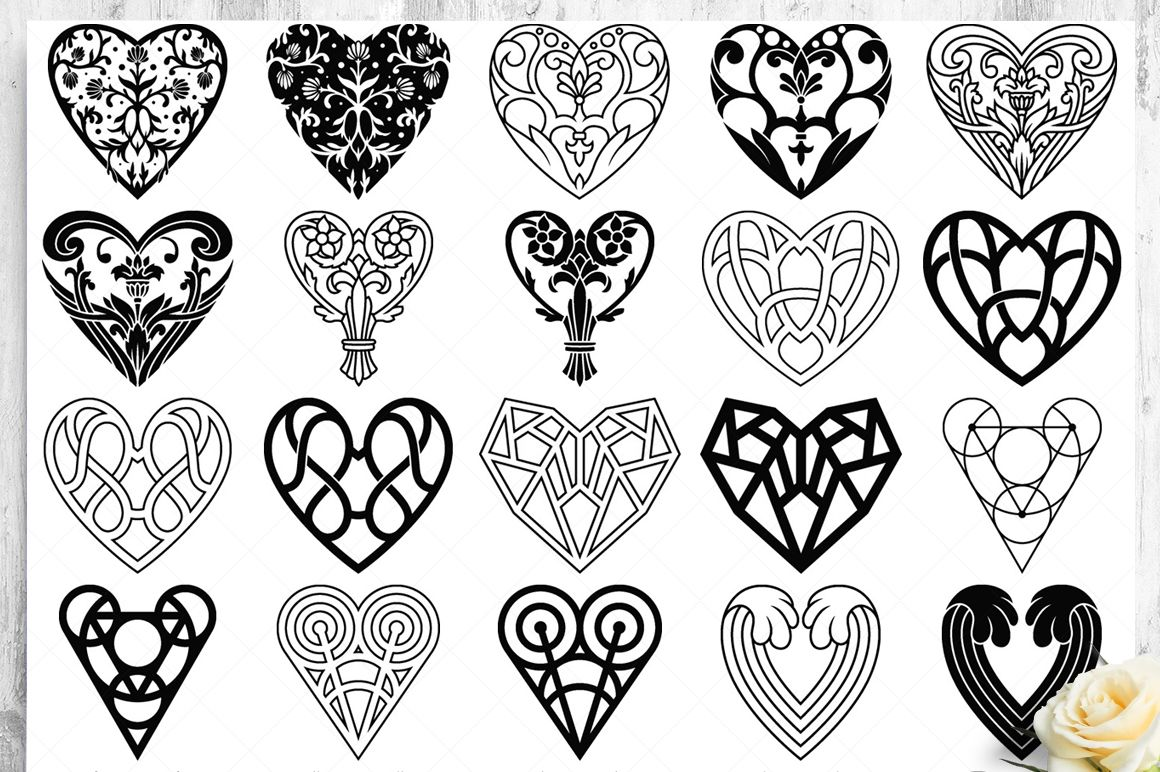 100 Heart Vector Ornaments and Seamless Patterns example image 13
