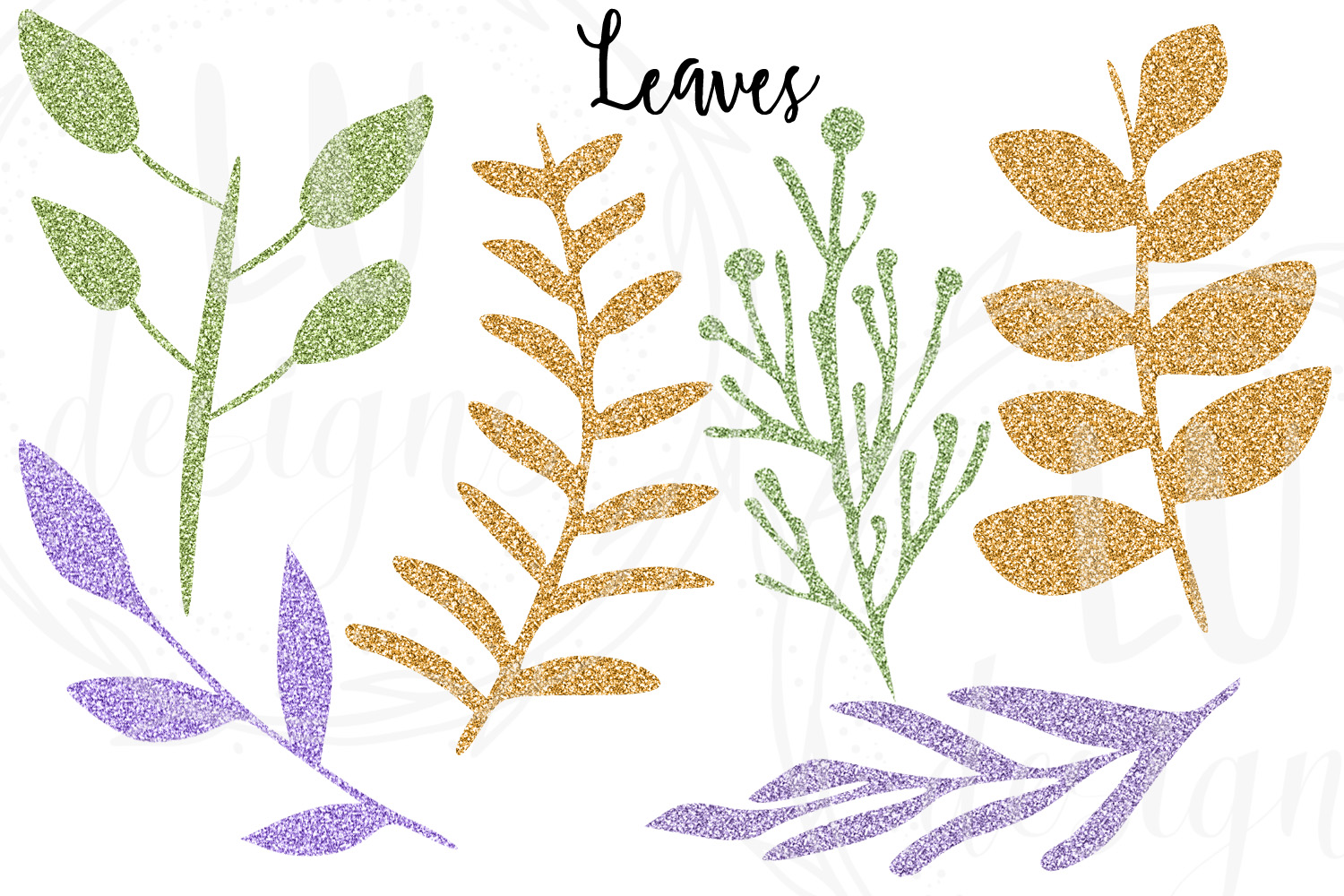 Floral and Glitter Clipart, Purple Flowers Graphics example image 3
