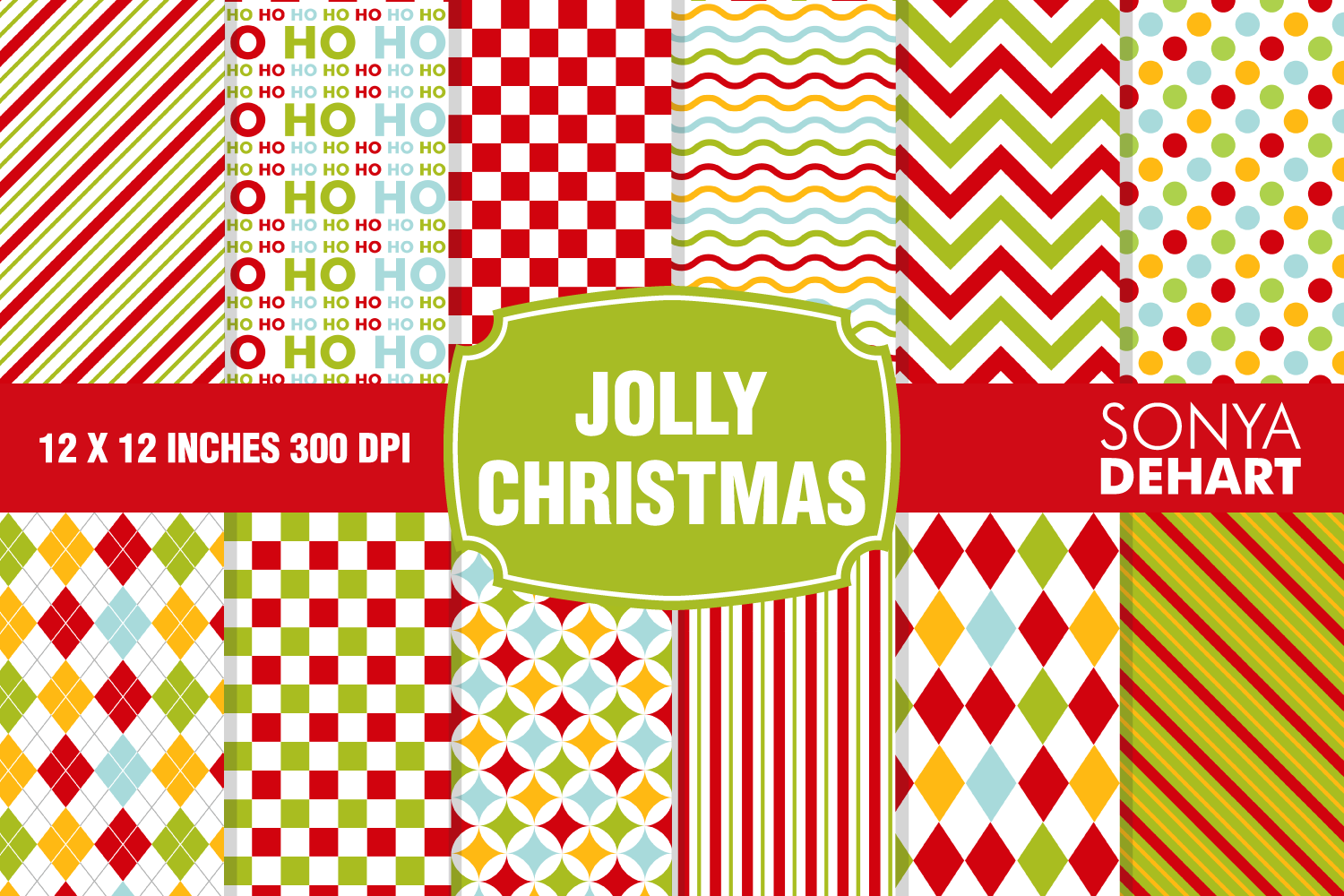 Jolly Christmas Red and Green Digital Paper Pattern Pack example image 1