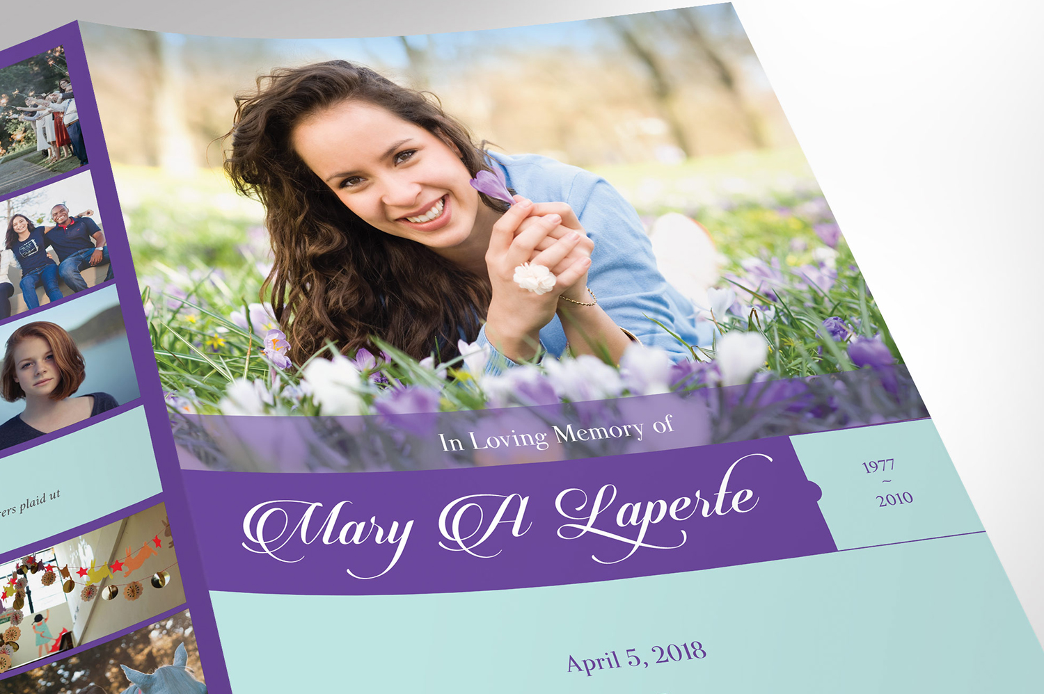Remember Purple Teal Funeral Program Word Publisher Large example image 5