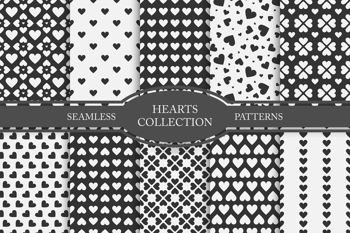 Set of seamless patterns with hearts example image 1