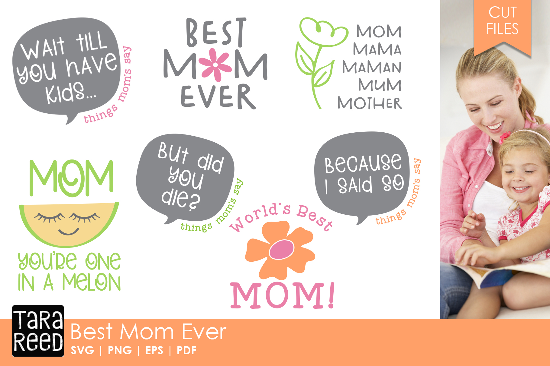 Best Mom Ever - Family SVG and Cut Files for Crafters example image 1