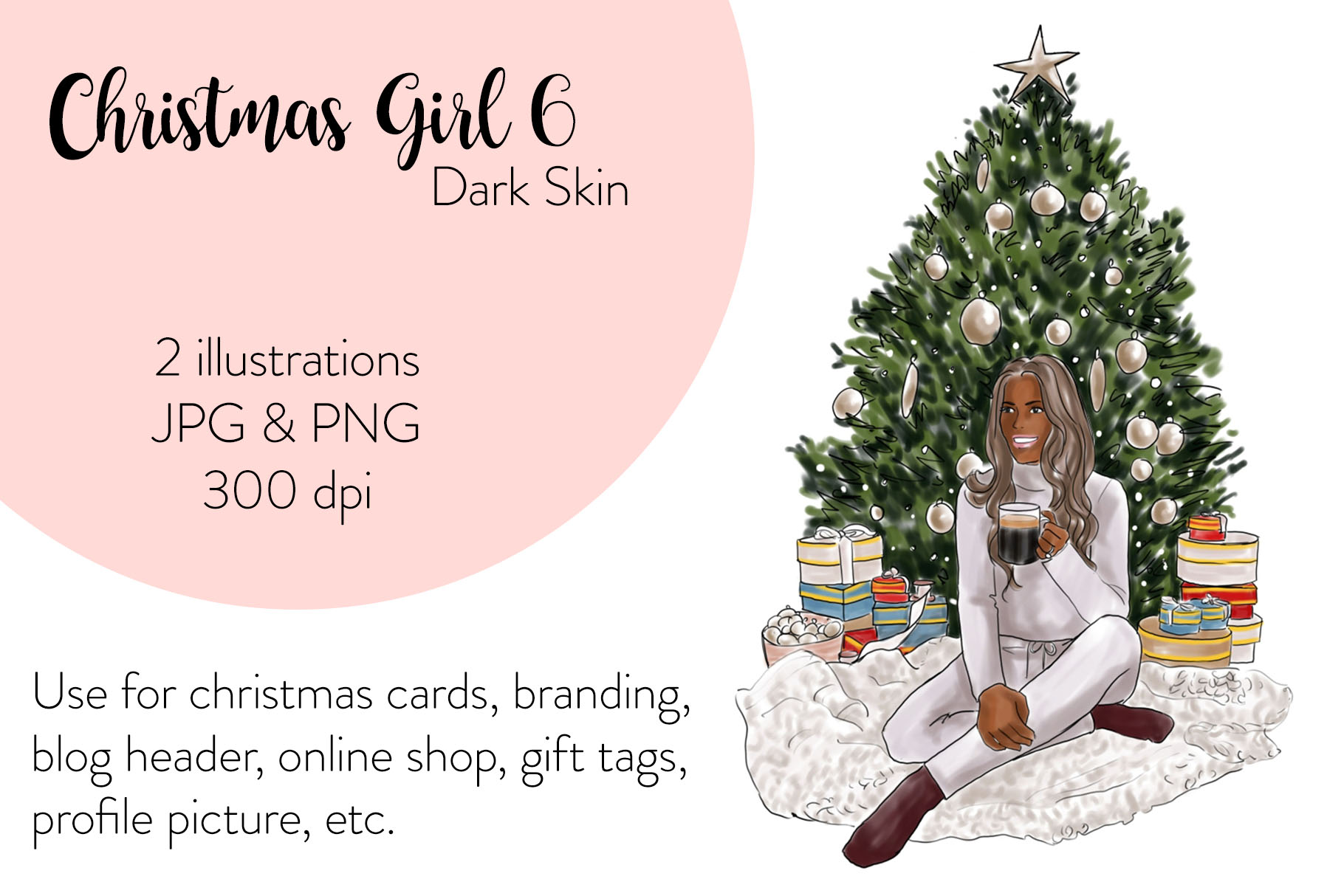 Fashion illustration - Christmas Girl 6 - Dark Skin example image 1