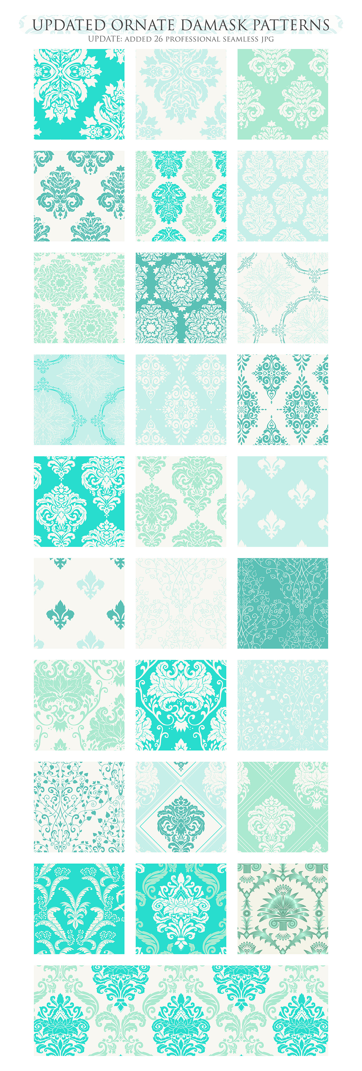 28 Mint Damask Patterns - Wedding Seamless Digital Papers Bundle example image 3