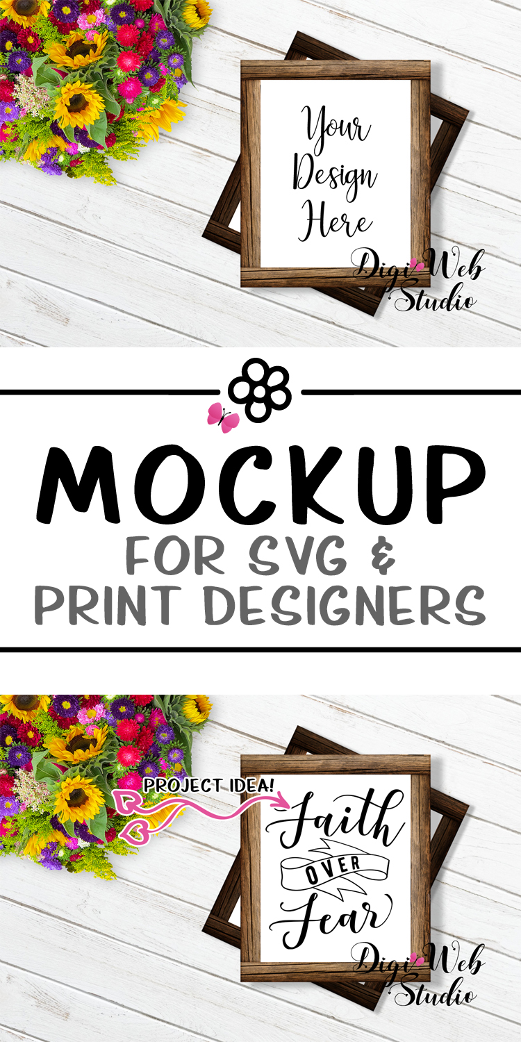 Flat Lay Wood Signs Mockup - Stacked Wood Frames w/ Flowers example image 3