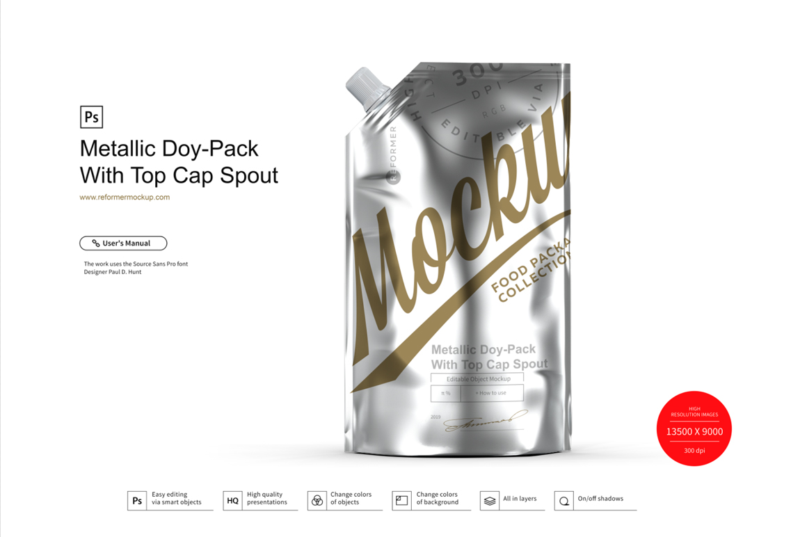 Metallic Doy-Pack With Top Cap Spout example image 1
