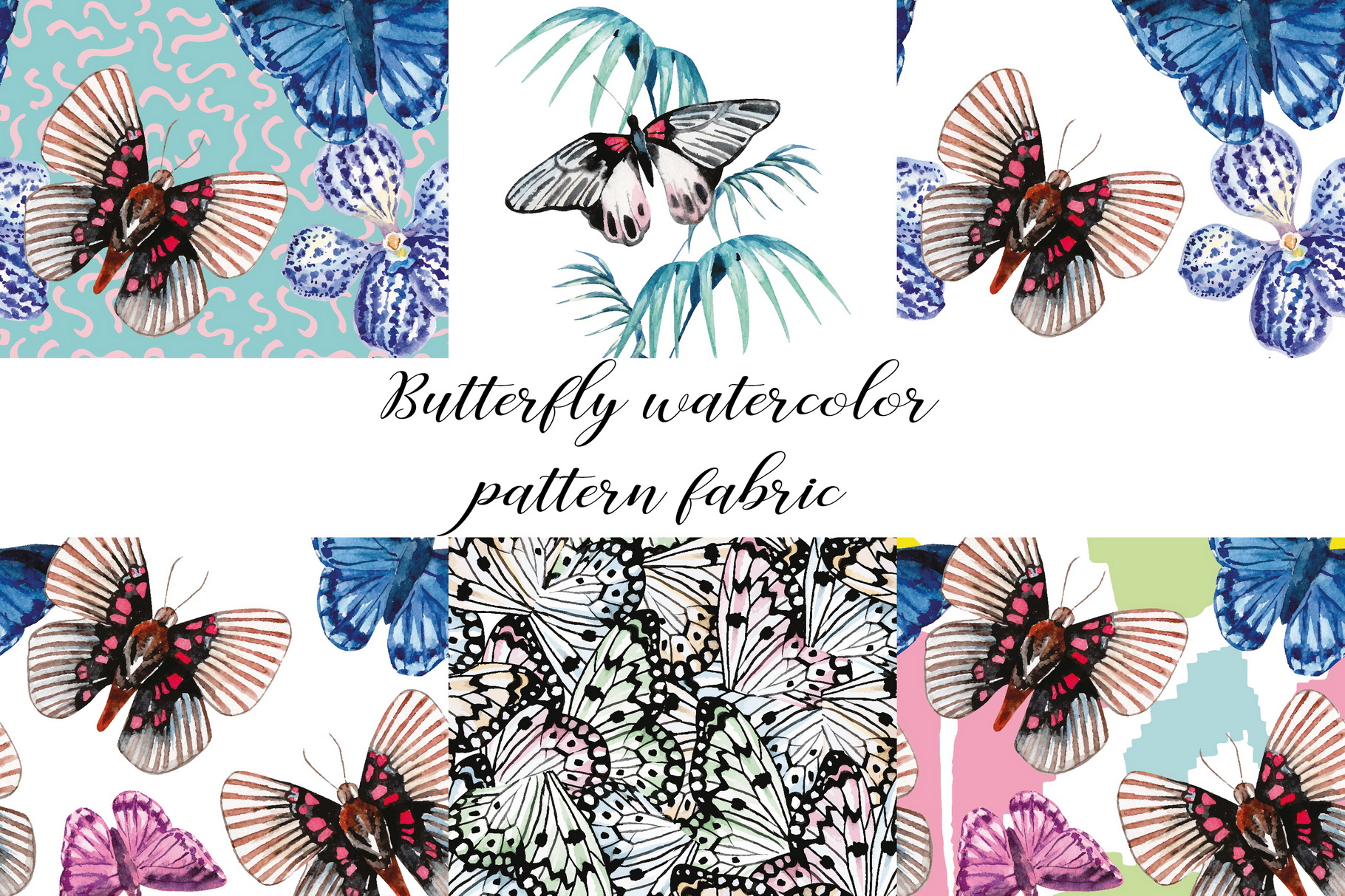 Butterfly watercolor hand drawn illustration digital paper. example image 1
