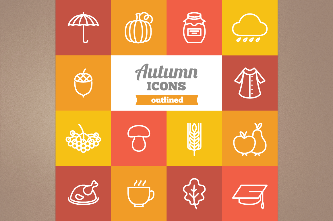 Outlined Autumn Icons example image 1
