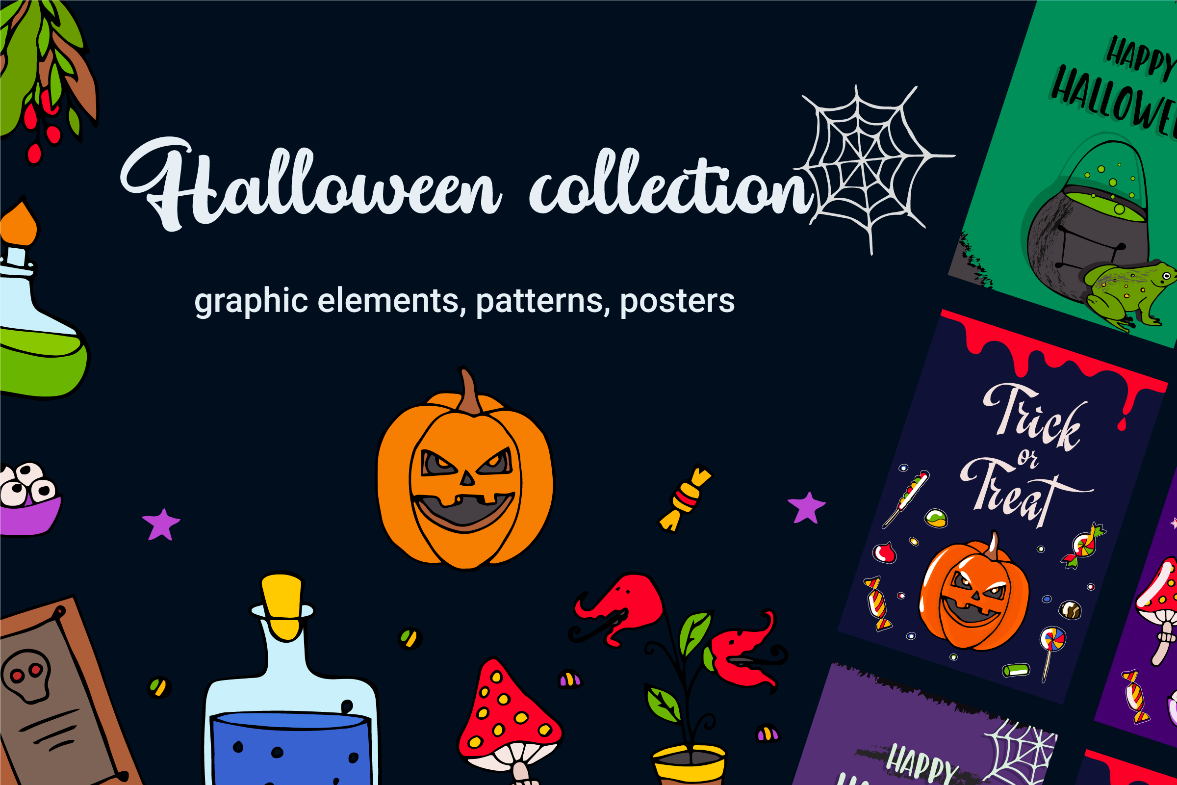 Halloween collection. Patterns, Elements, Posters example image 1