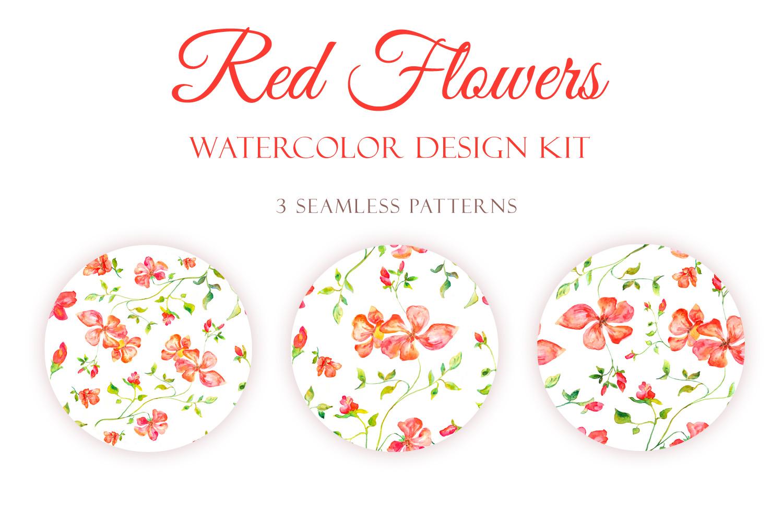 Red Blooming Flowers - Handmade watercolor design kit  example image 3