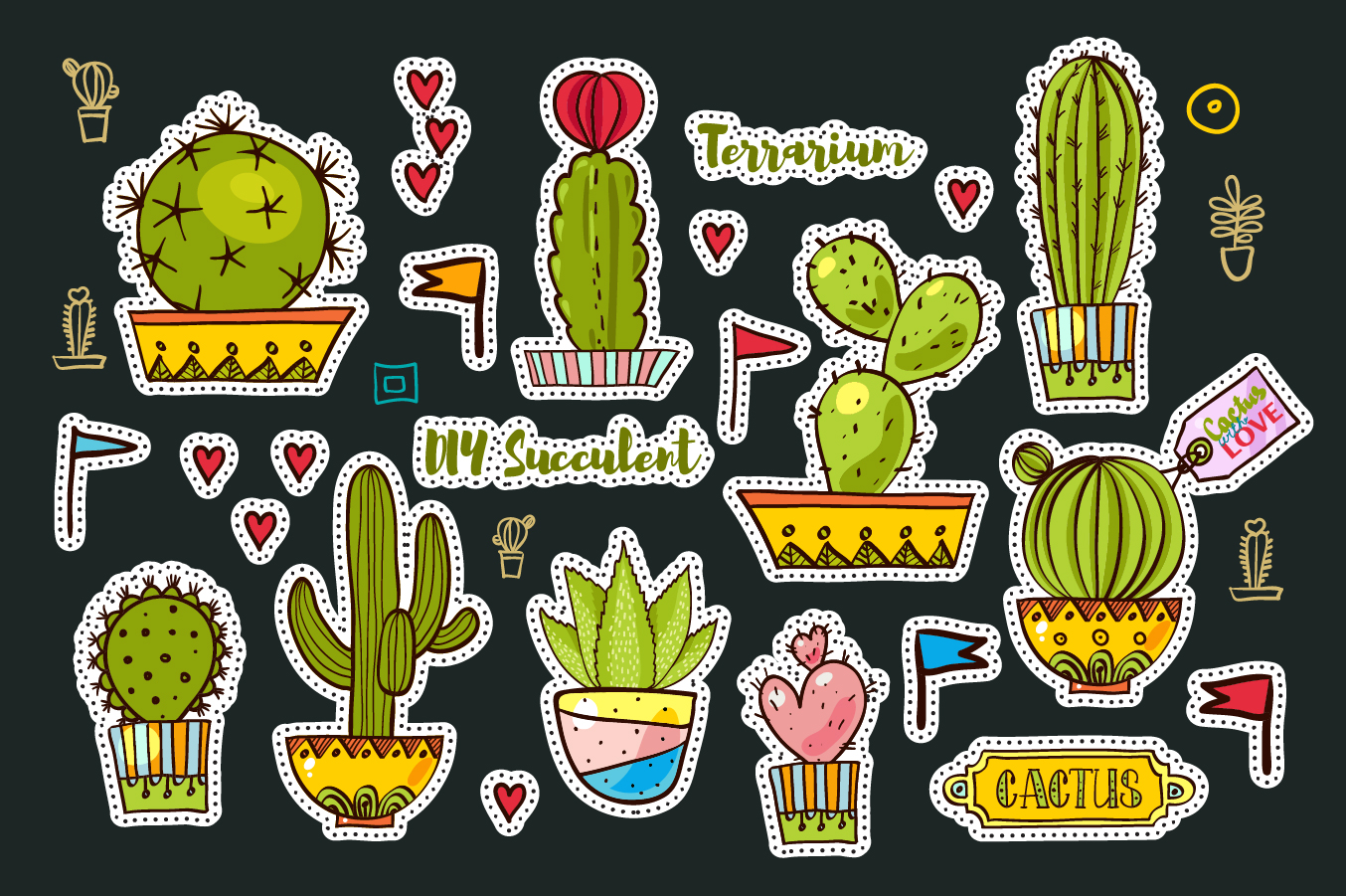 Set Fashion patches with cacti example image 6