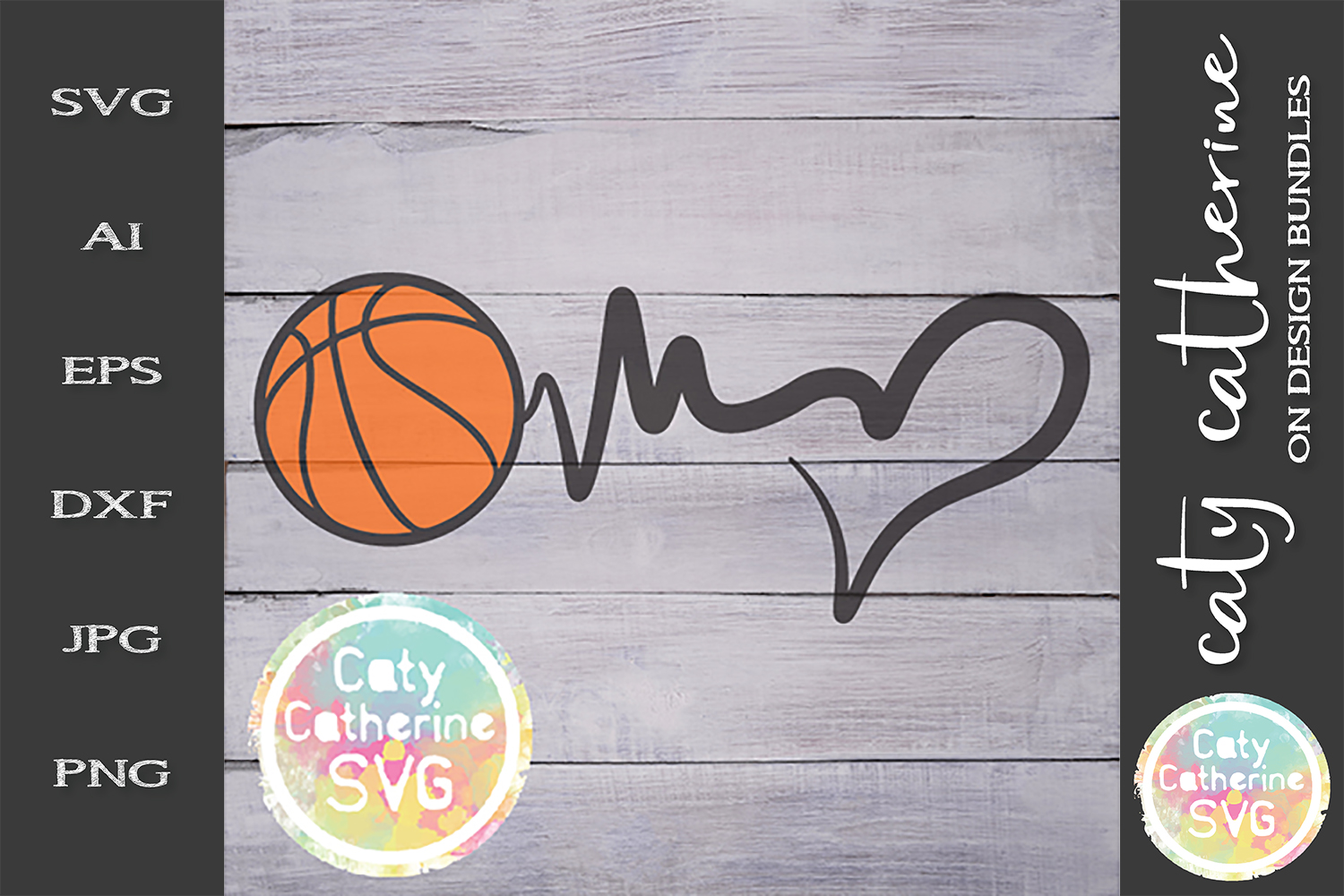 Heartbeat Love Heart Basketball SVG Cut File example image 1