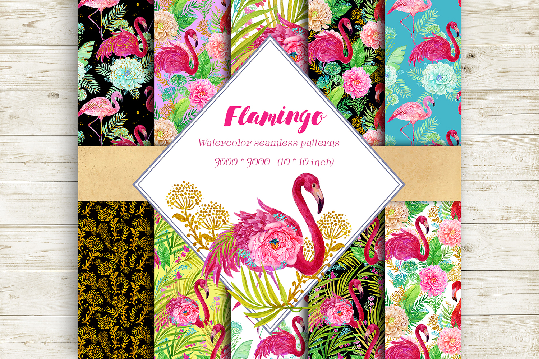 Flamingo.Seamless patterns, example image 1