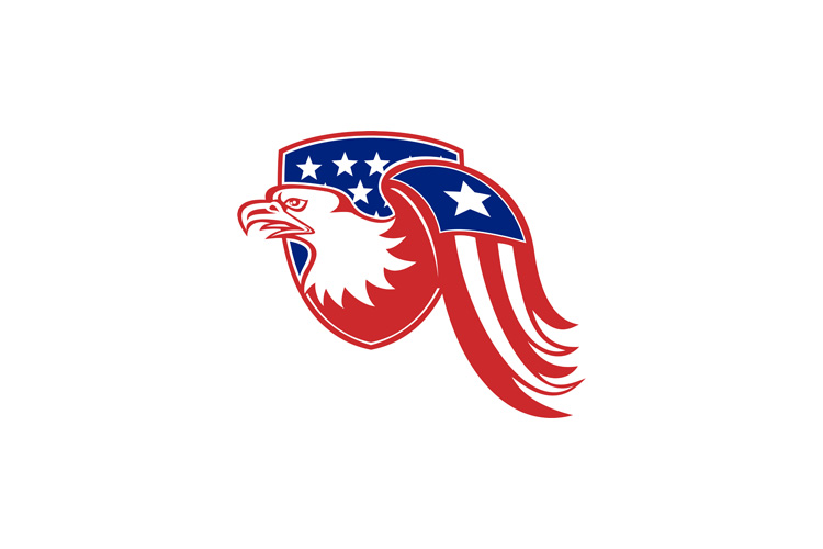 American Eagle Stars and Stripes Flag Shield Retro example image 1