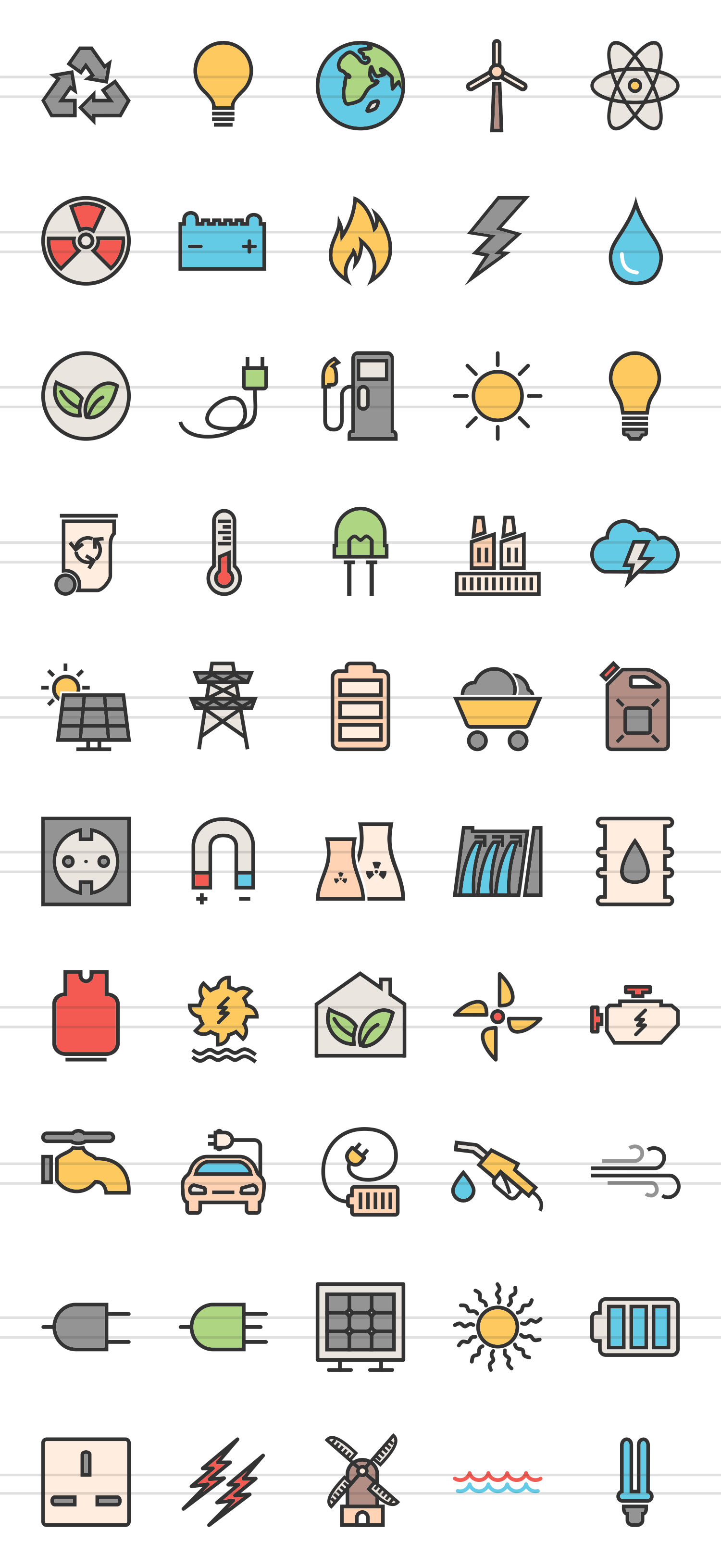 50 Energy Linear Multicolor Icons example image 2