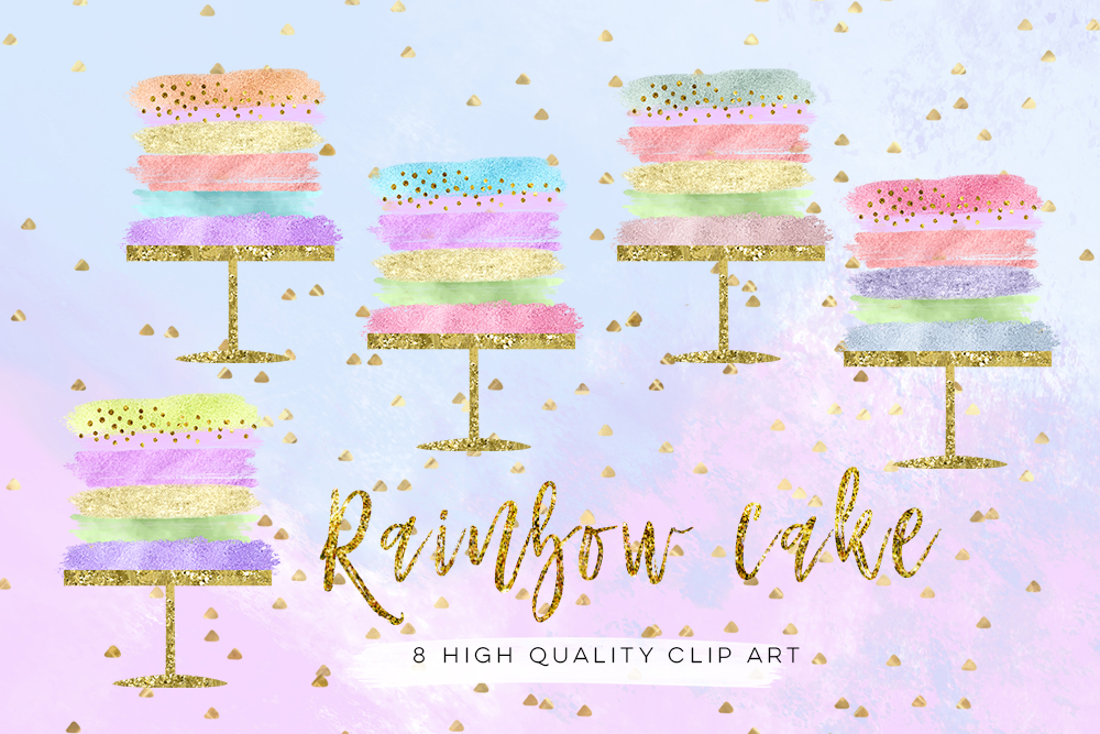 birthday cake clip art, Wedding Cake clip art set, Party rainbow cake clip art, Cake Clipart, Cake Clip Art Digital Cake Wedding brush example image 4