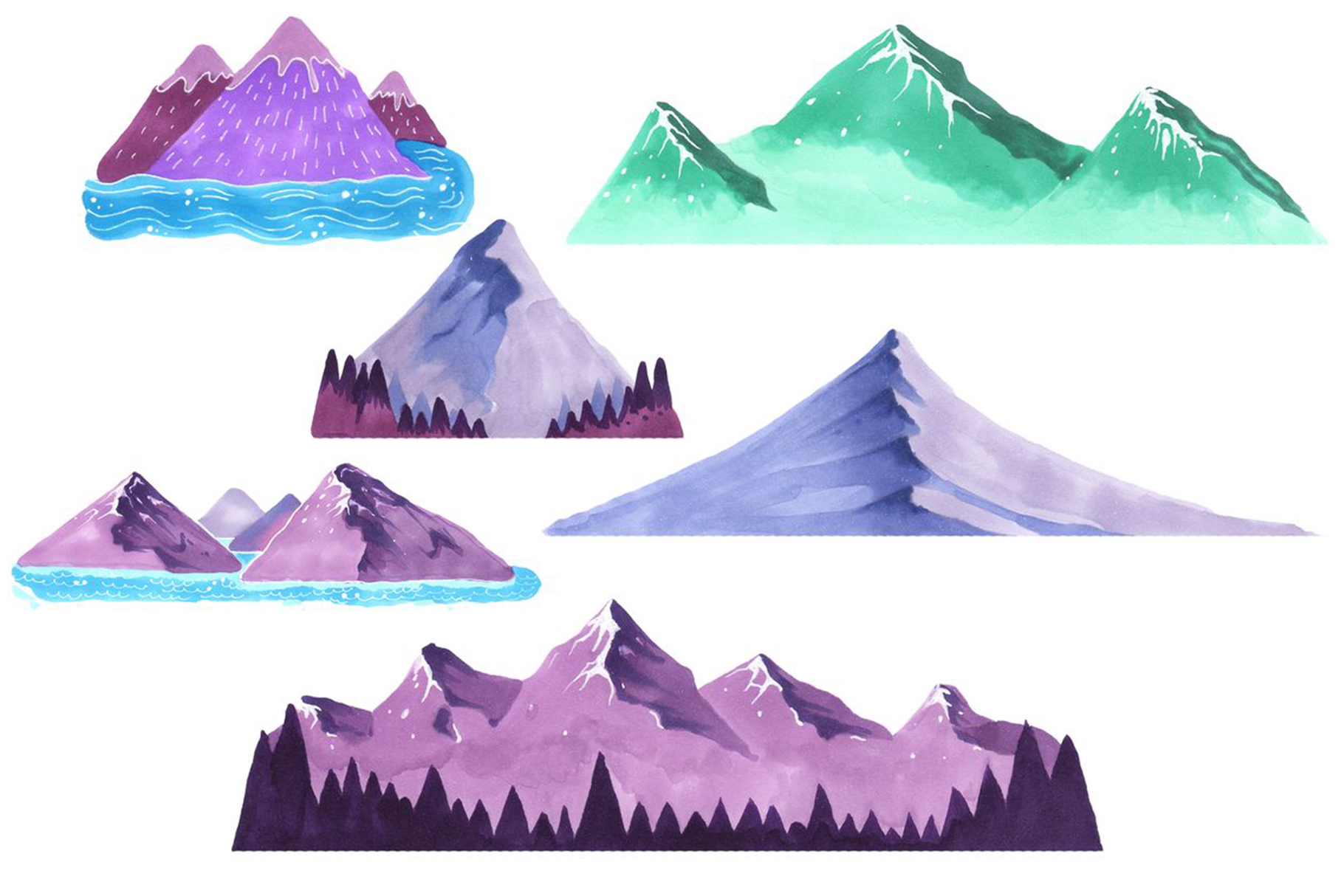 Mountains Set Marker Collection example image 2