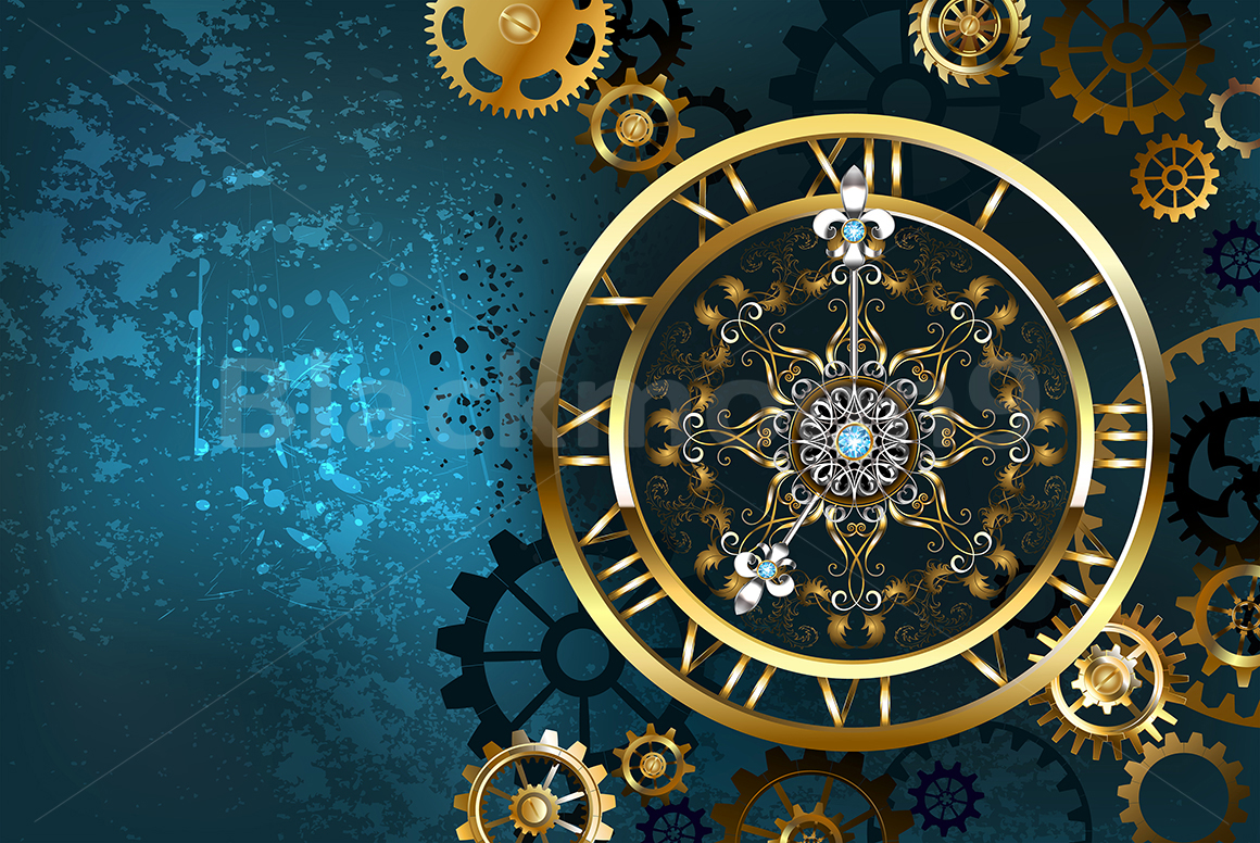 Golden Clock On Turquoise Background Steampunk