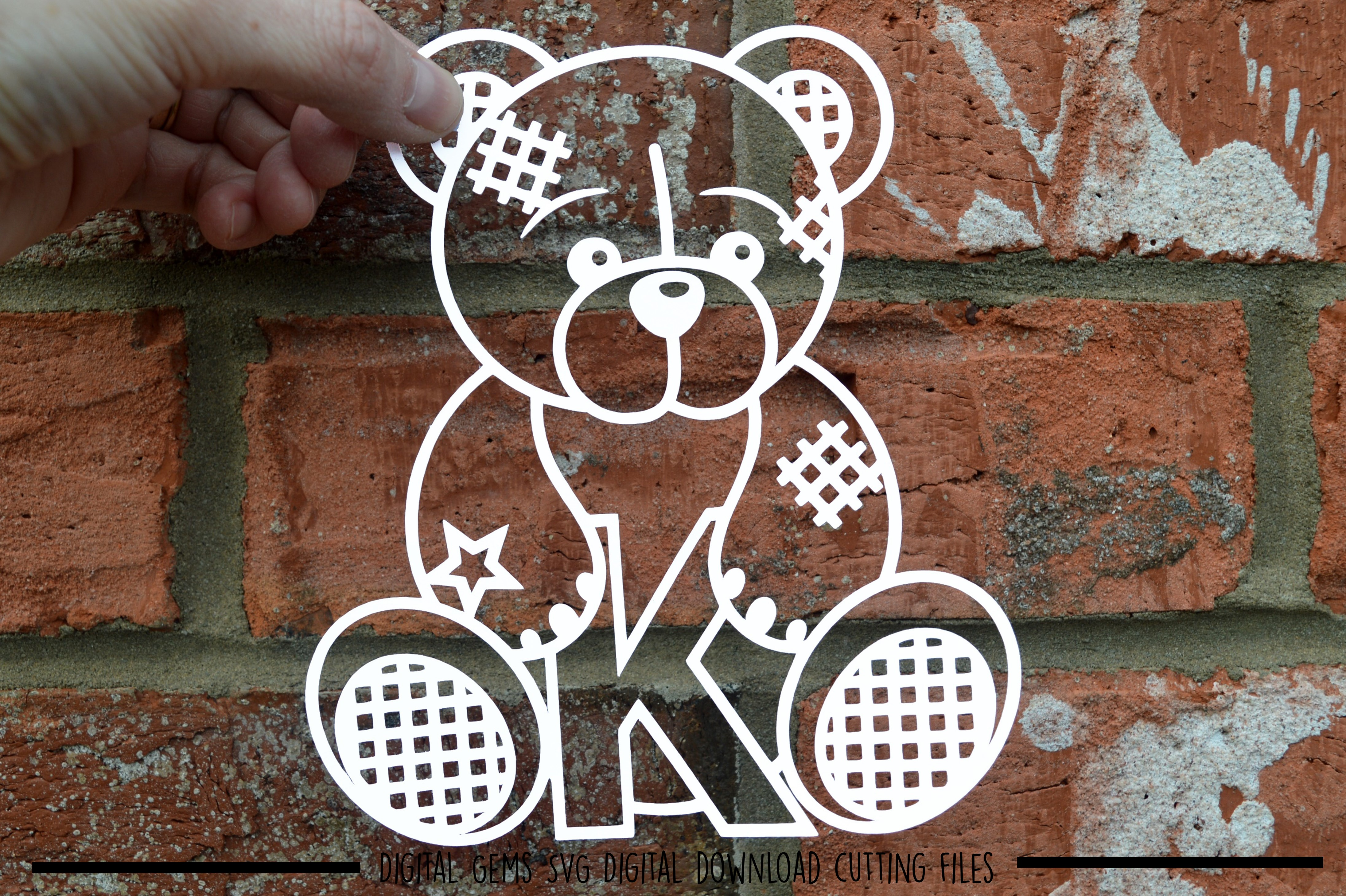 Alphabet teddy bear paper cuts SVG / DXF / EPS files example image 15