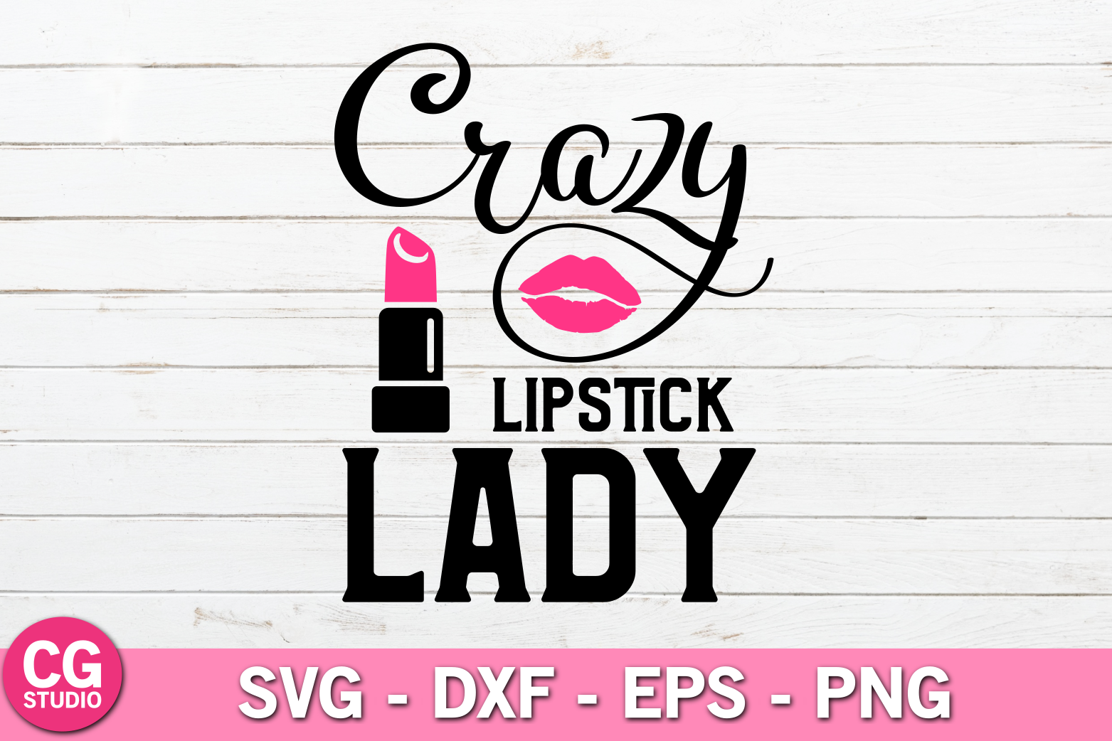 Crazy lipstick lady SVG example image 1