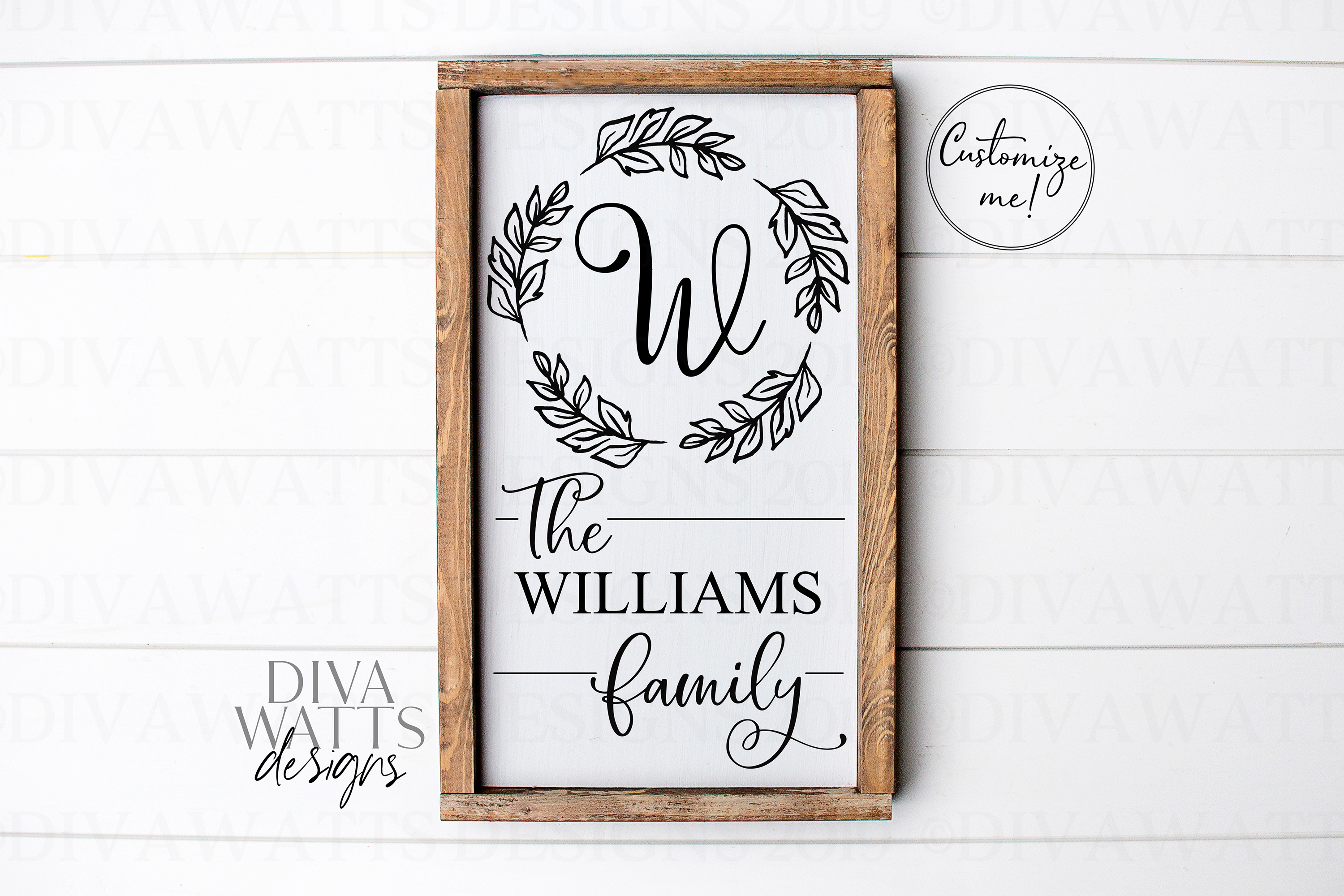 Farmhouse Monogram Last Name Cutting File SVG Sign example image 2