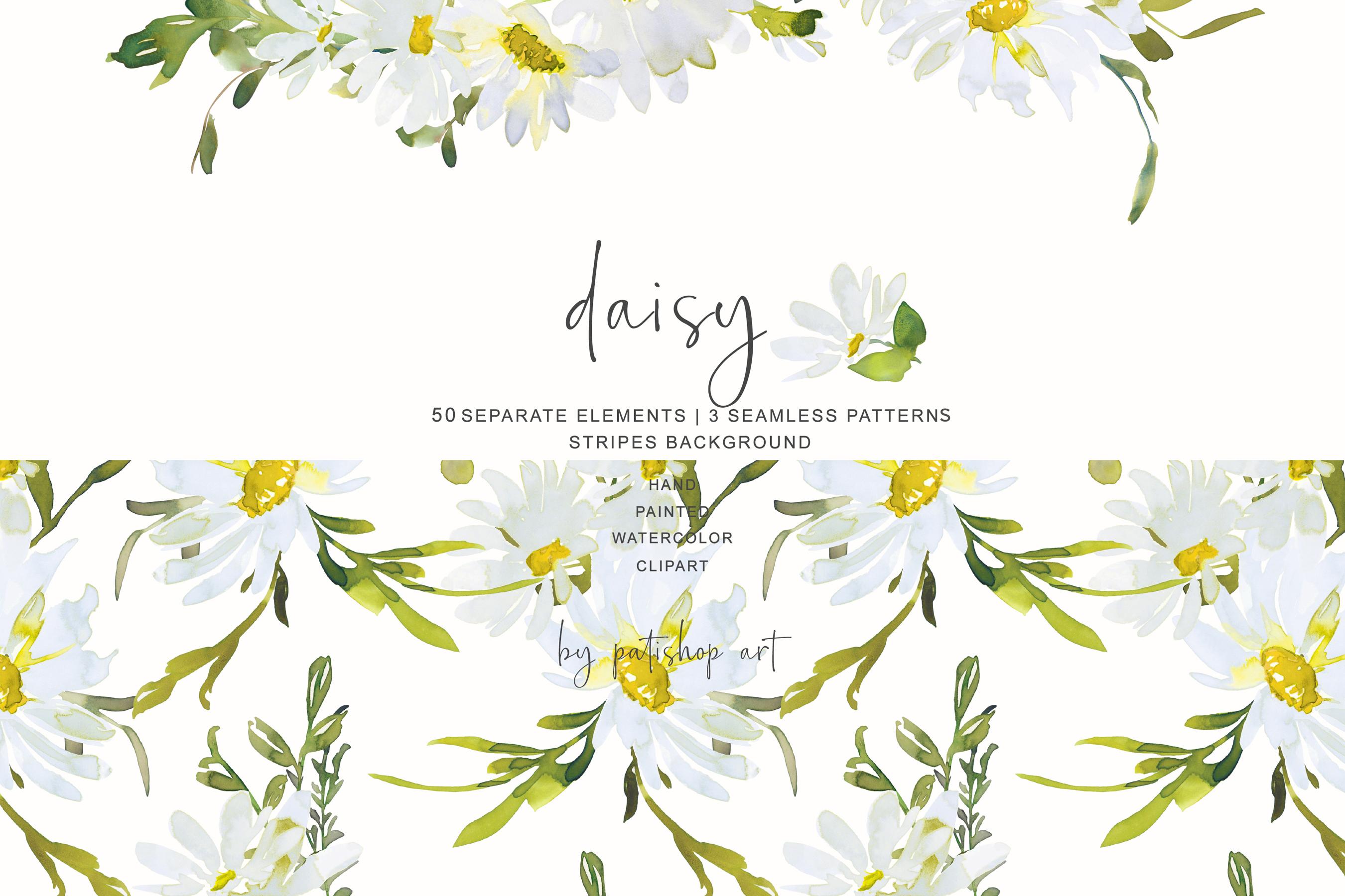 Watercolor Daisy Clip Art example image 1