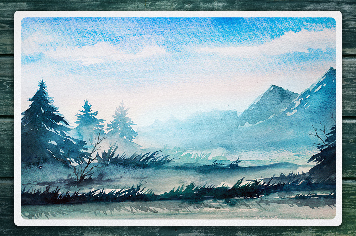 Watercolor Vector Landscapes set#2 example image 4