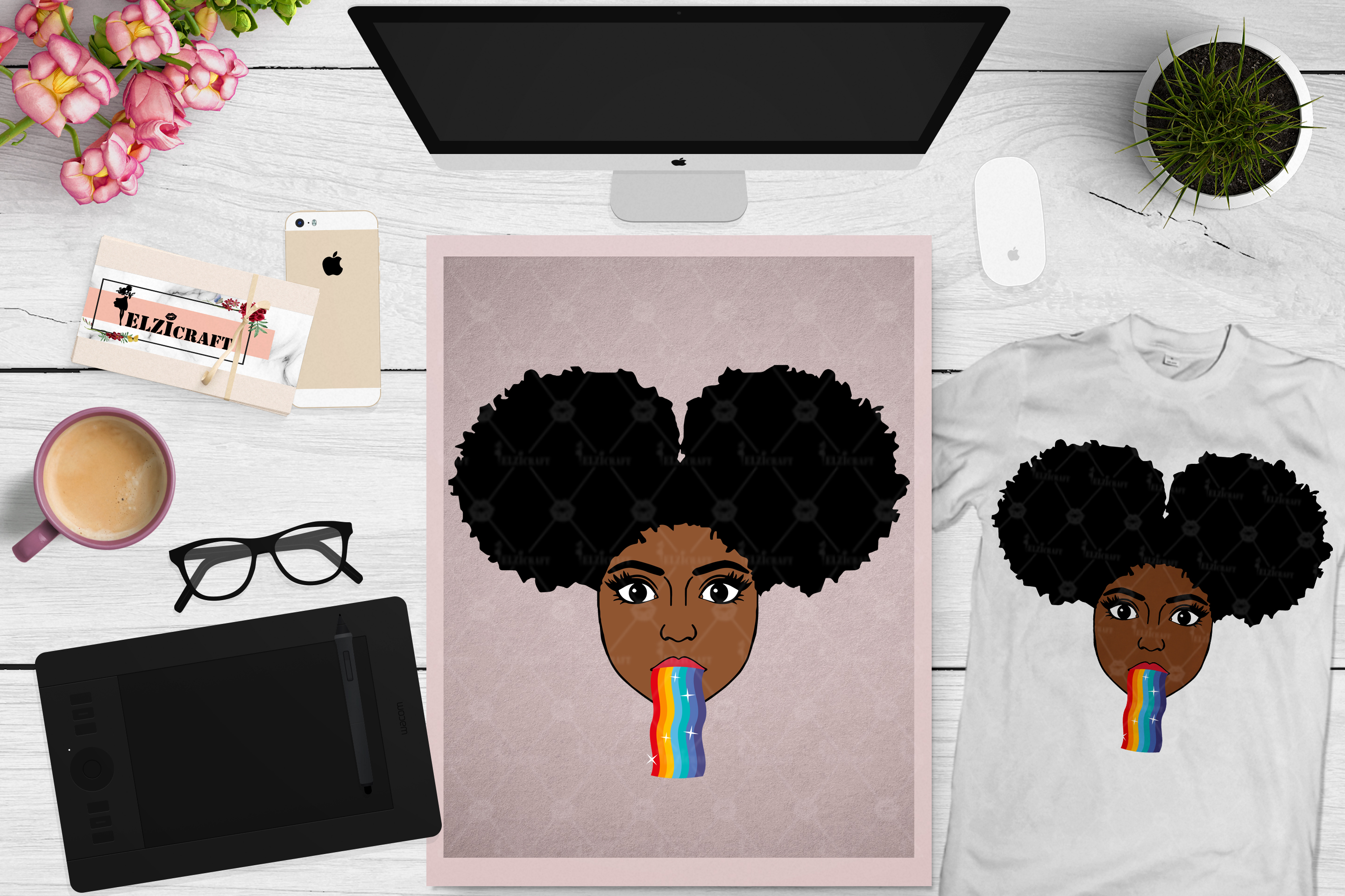 BUNDLE Afro Girl, Afro Girl Face, BAE, BHM SVG Cut File example image 13