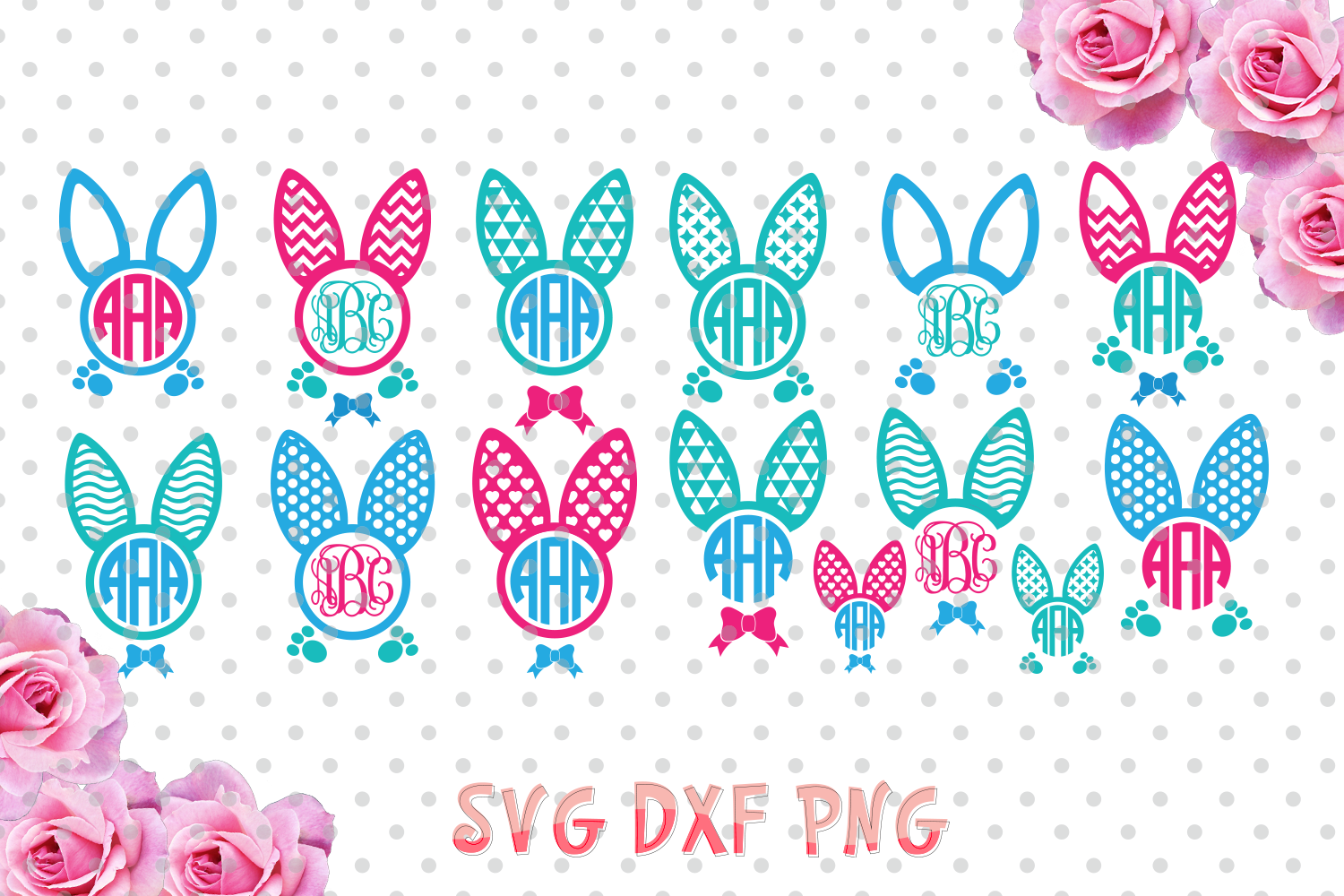 Easter bunny ears Monogram Frames Svg cutting file, bunny ears SVG, DXF, Cricut Design Space, Silhouette Studio,Digital Cut Files example image 1