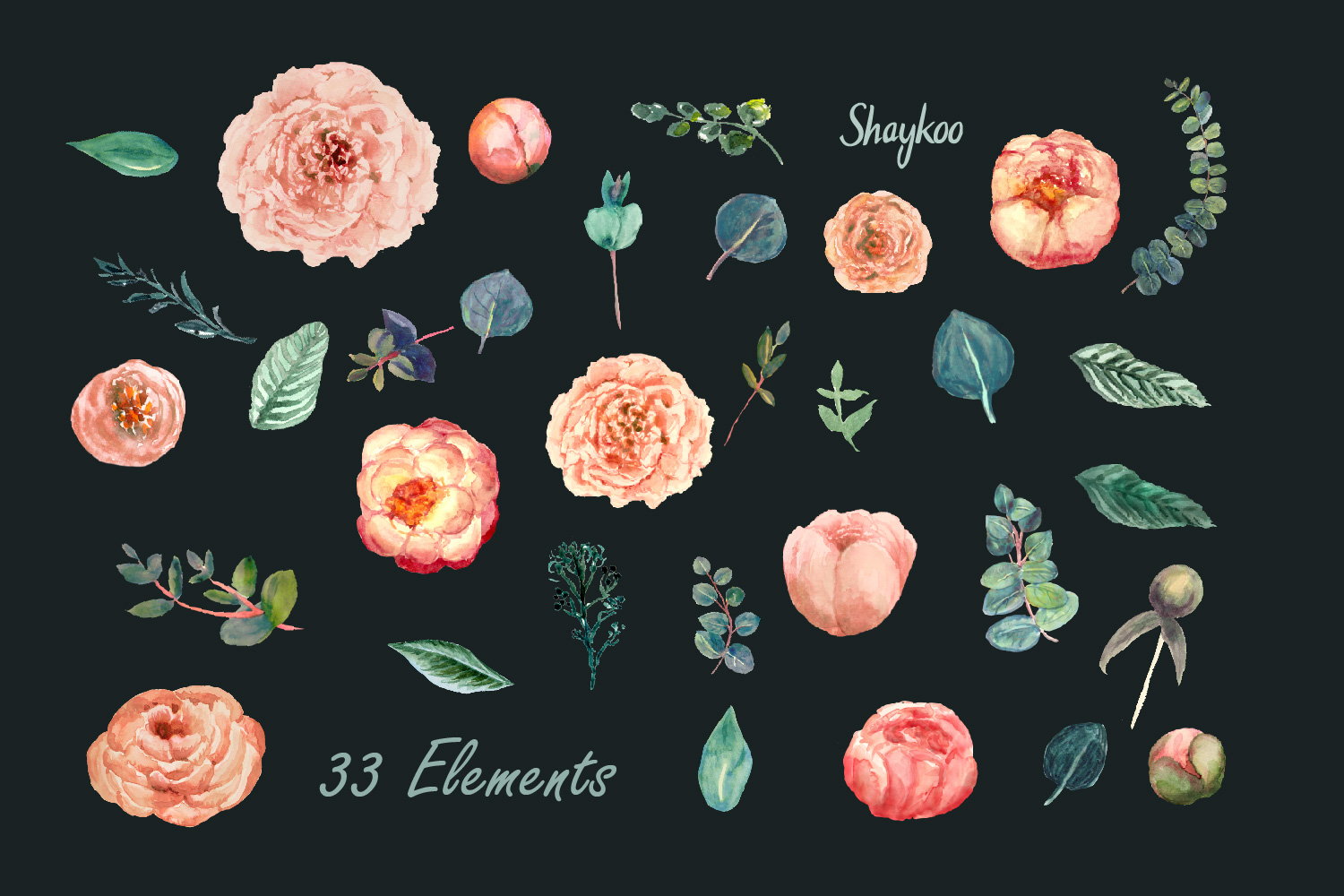 Blush Peony and Eucalyptus Watercolor Clipart Wedding Invite example image 3