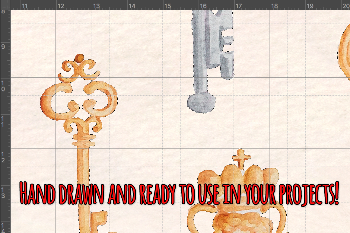 Locks and Keys 34 Watercolor Graphics Kit example image 3
