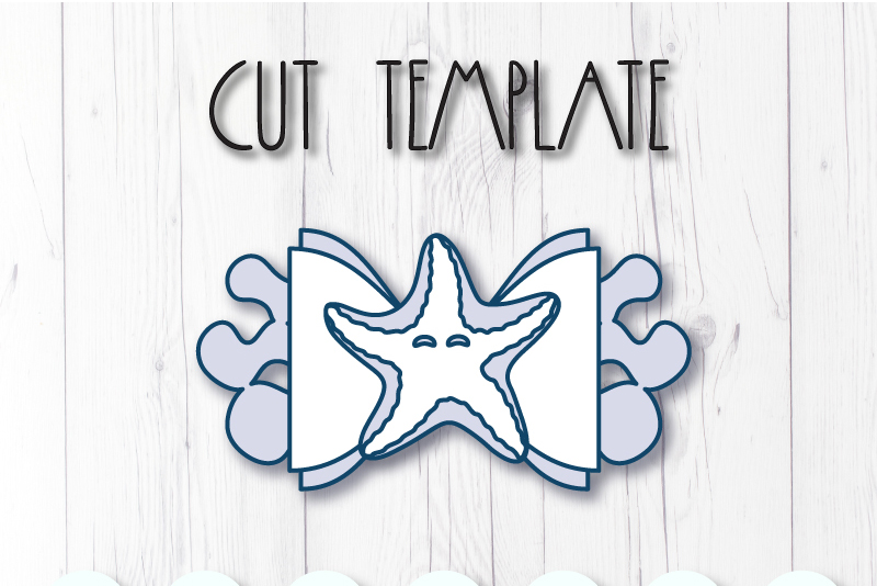 Starfish Hair bow template SVG, DIY leather bow template example image 2