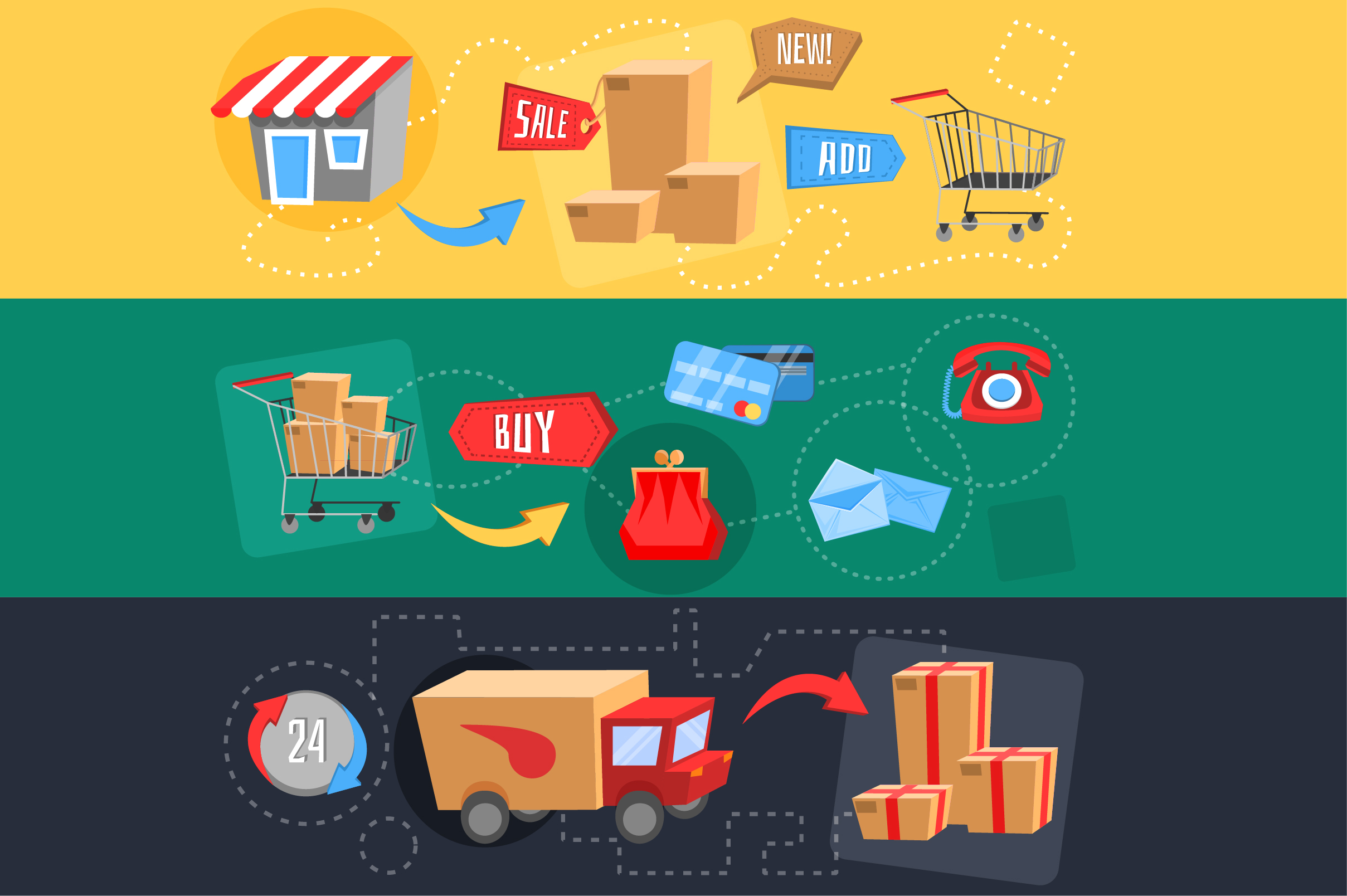 Vector E-commerce icon set for online store color + bw example image 4