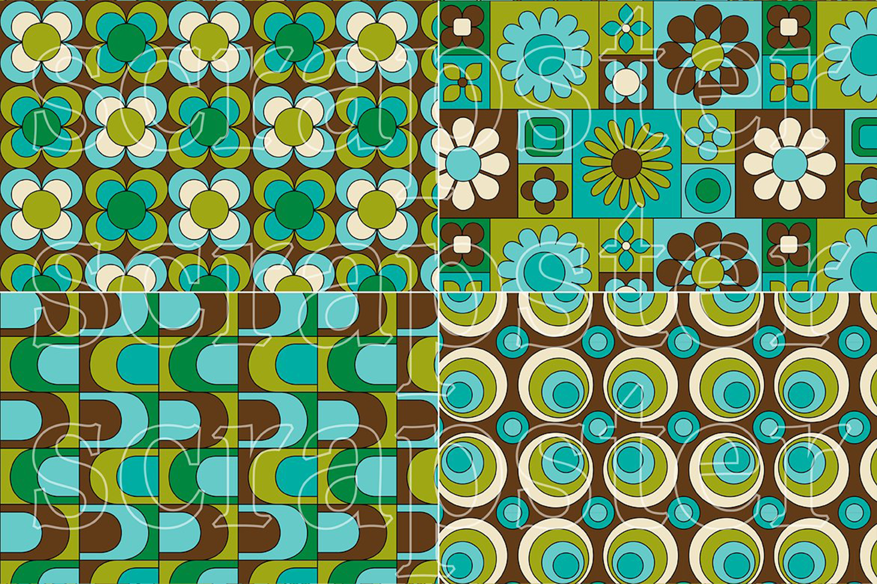 Mod Blue & Green Seamless Patterns example image 3