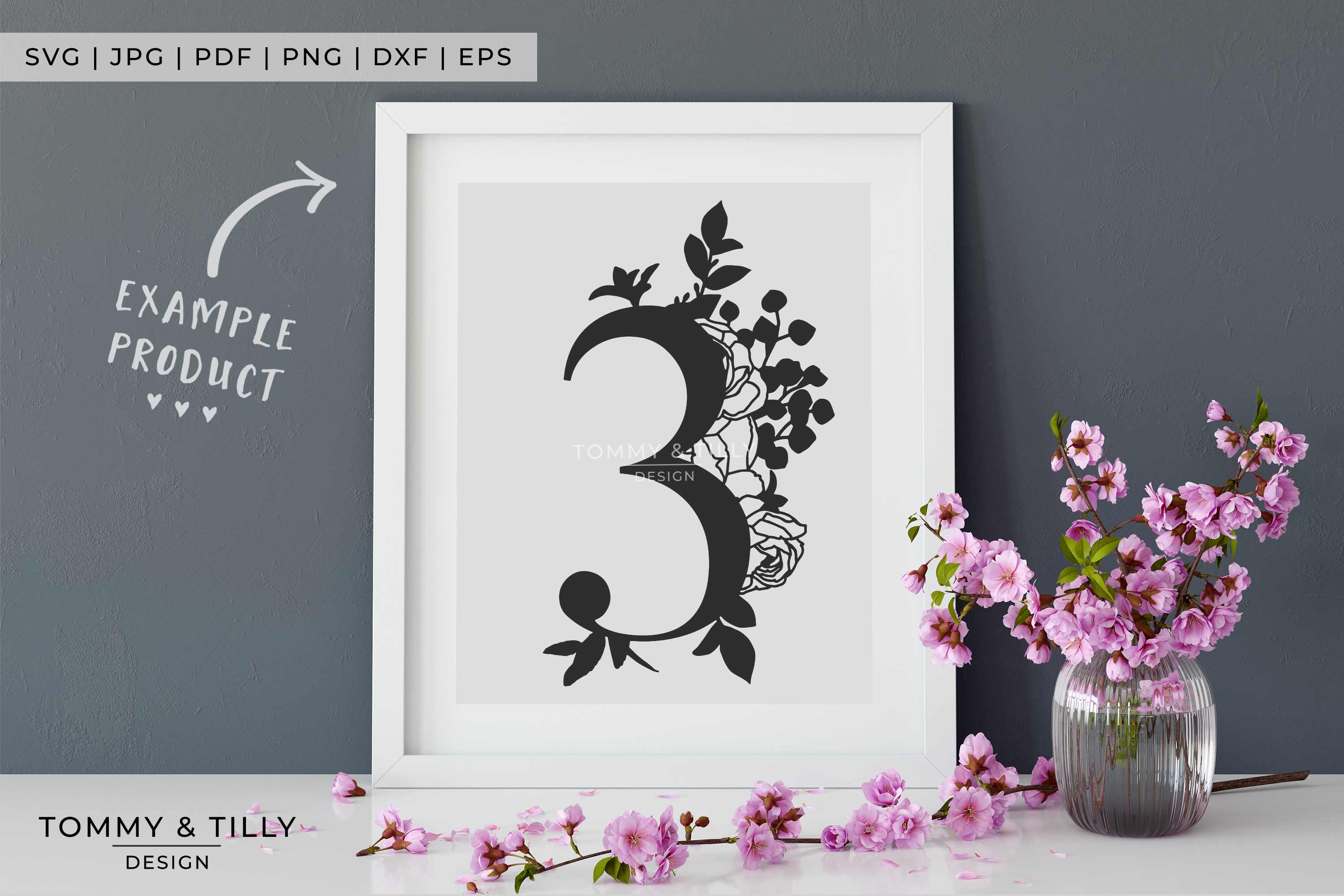 3 - Floral Bouquet Number Design - Paper Cut SVG EPS DXF PNG example image 5