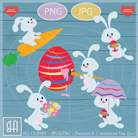 Easter bunny clip art - Personal and commercial use - Easter example image 2