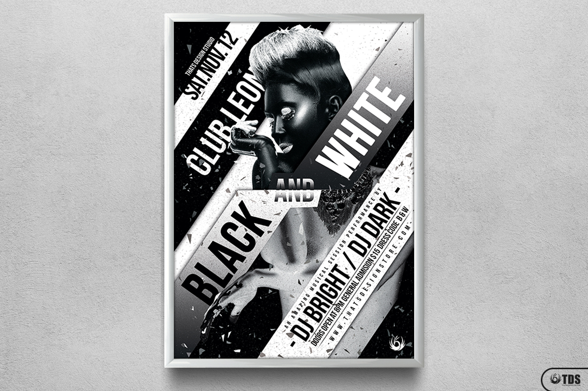 Black and White Party Flyer Template example image 6