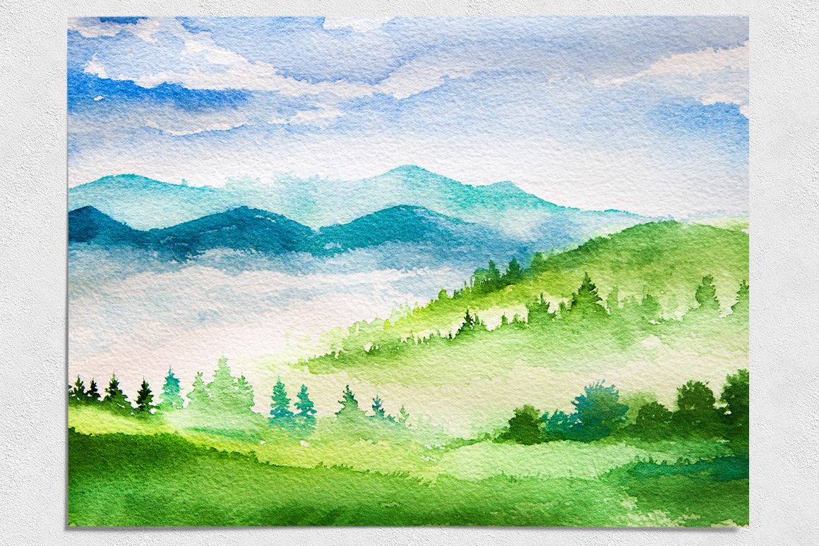 Spring Landscapes. Watercolor. example image 8