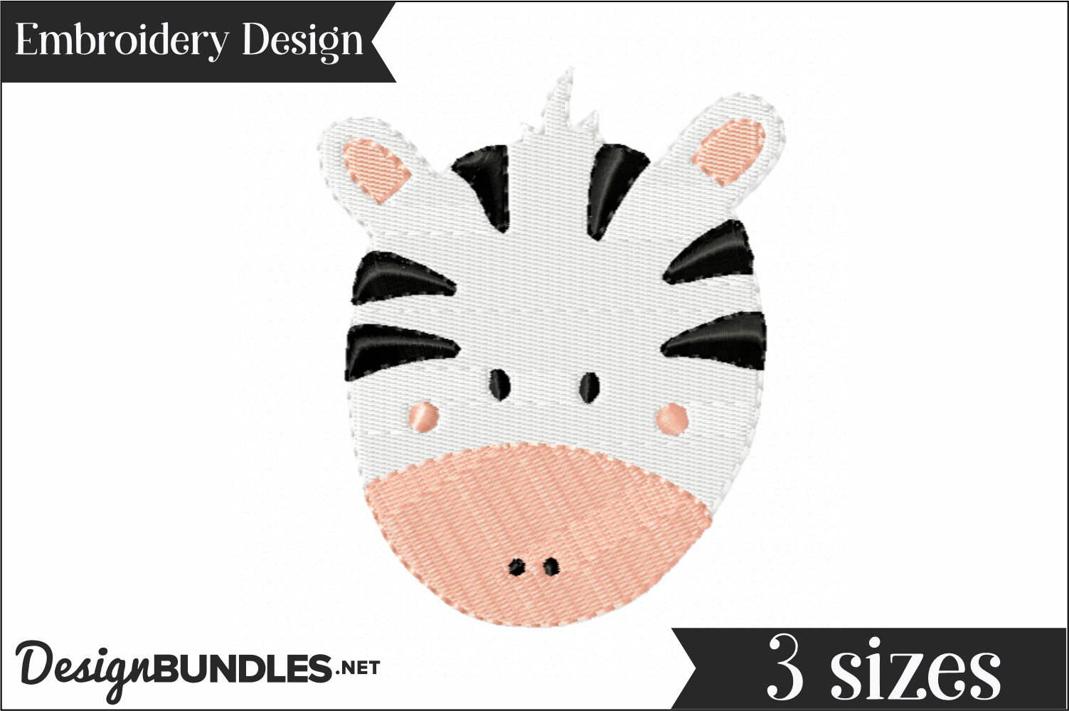Zebra Face Embroidery Design example image 1