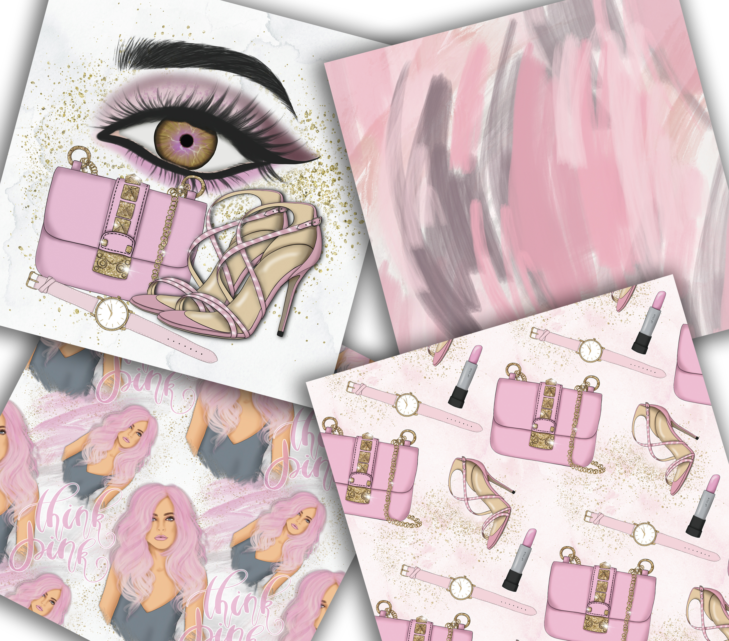 Think Pink Clipart & Patterns example image 5