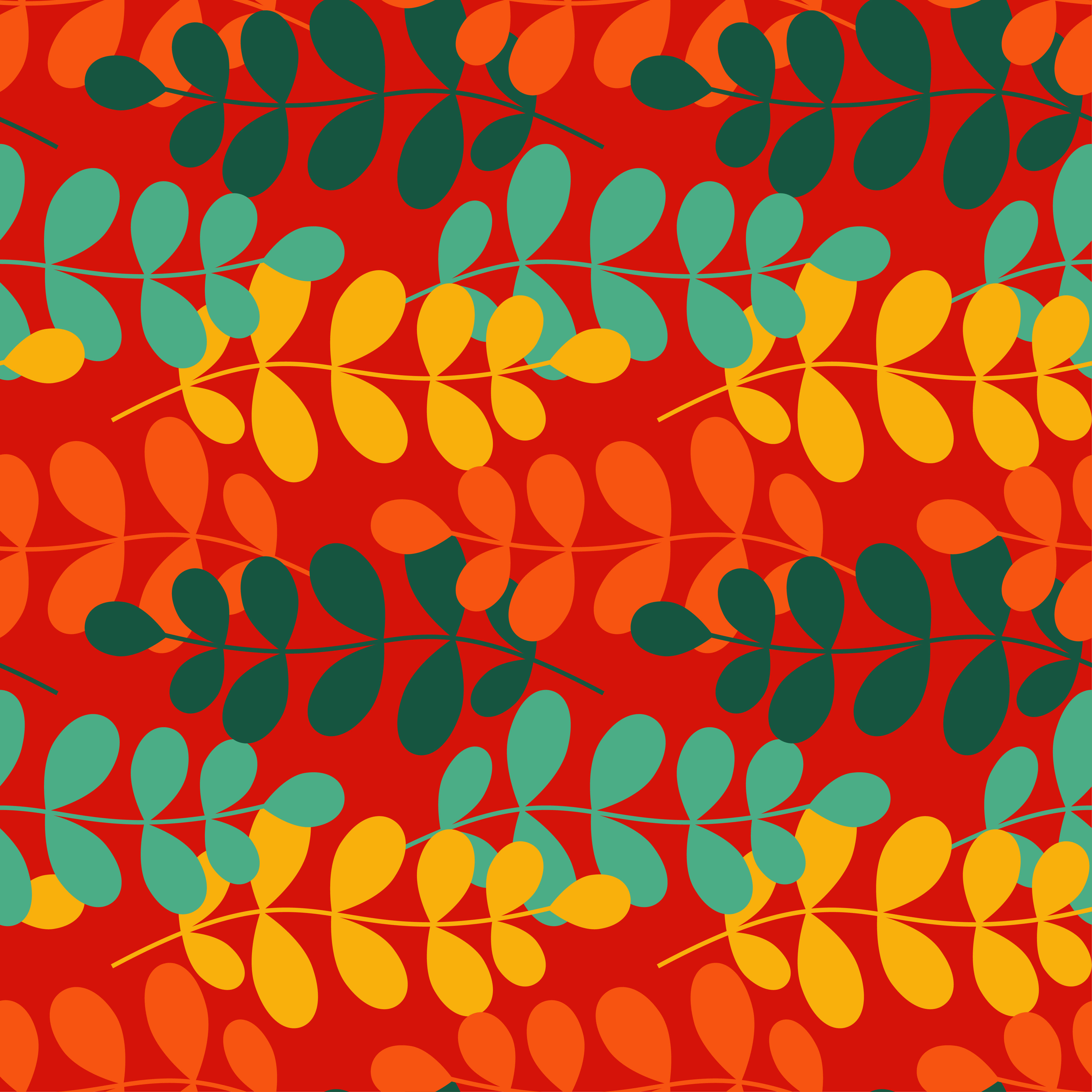Seamless vector background with decorative branche and leaves. Pattern with plants. example image 2