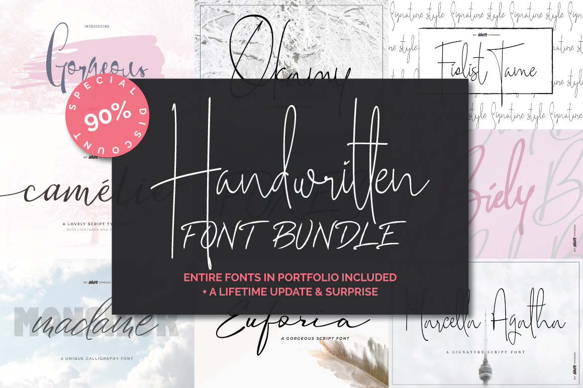 Handwritten Font Bundle example image 1