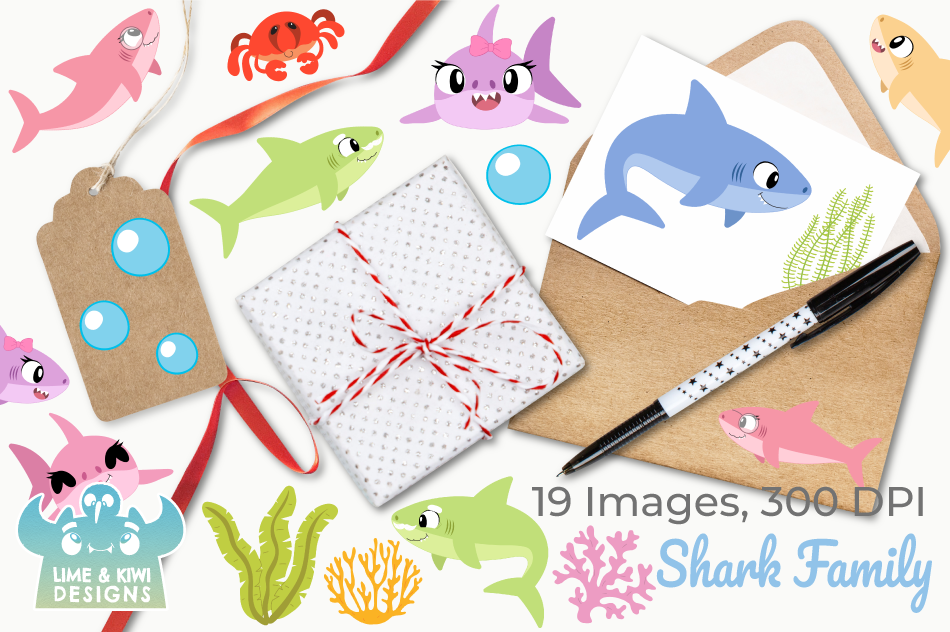 Shark Family Clipart, Instant Download Vector Art example image 4