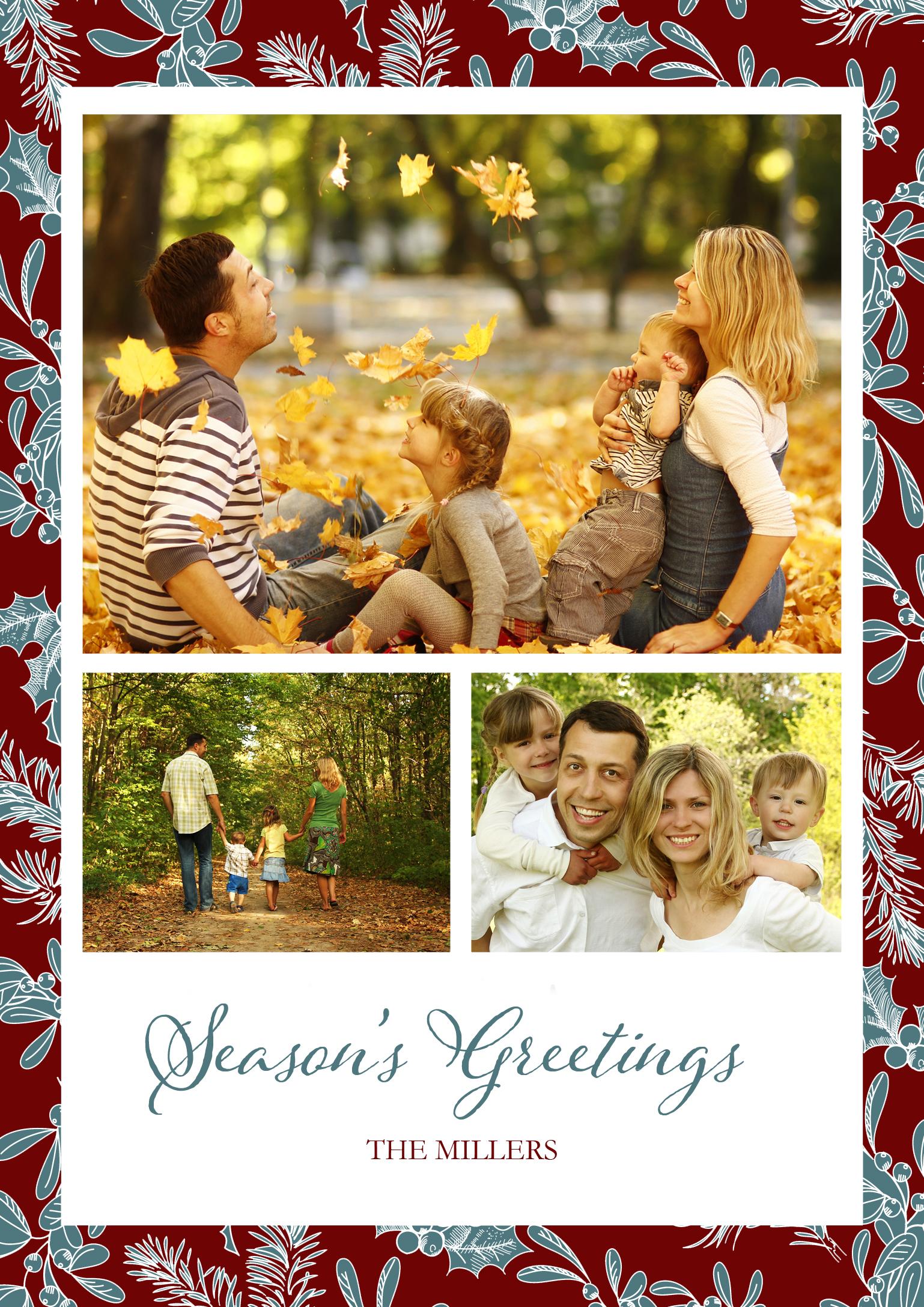 Season's Greetings Christmas Card Photoshop template example image 2