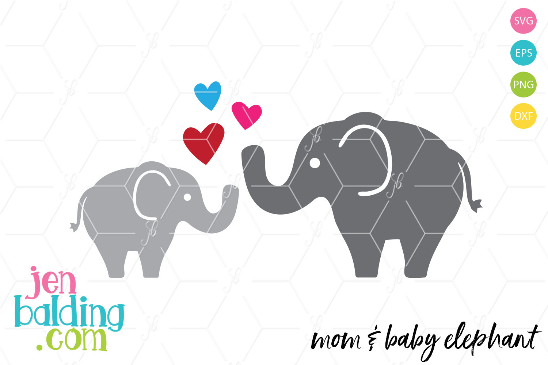 Mom & Baby Elephant SVG example image 1